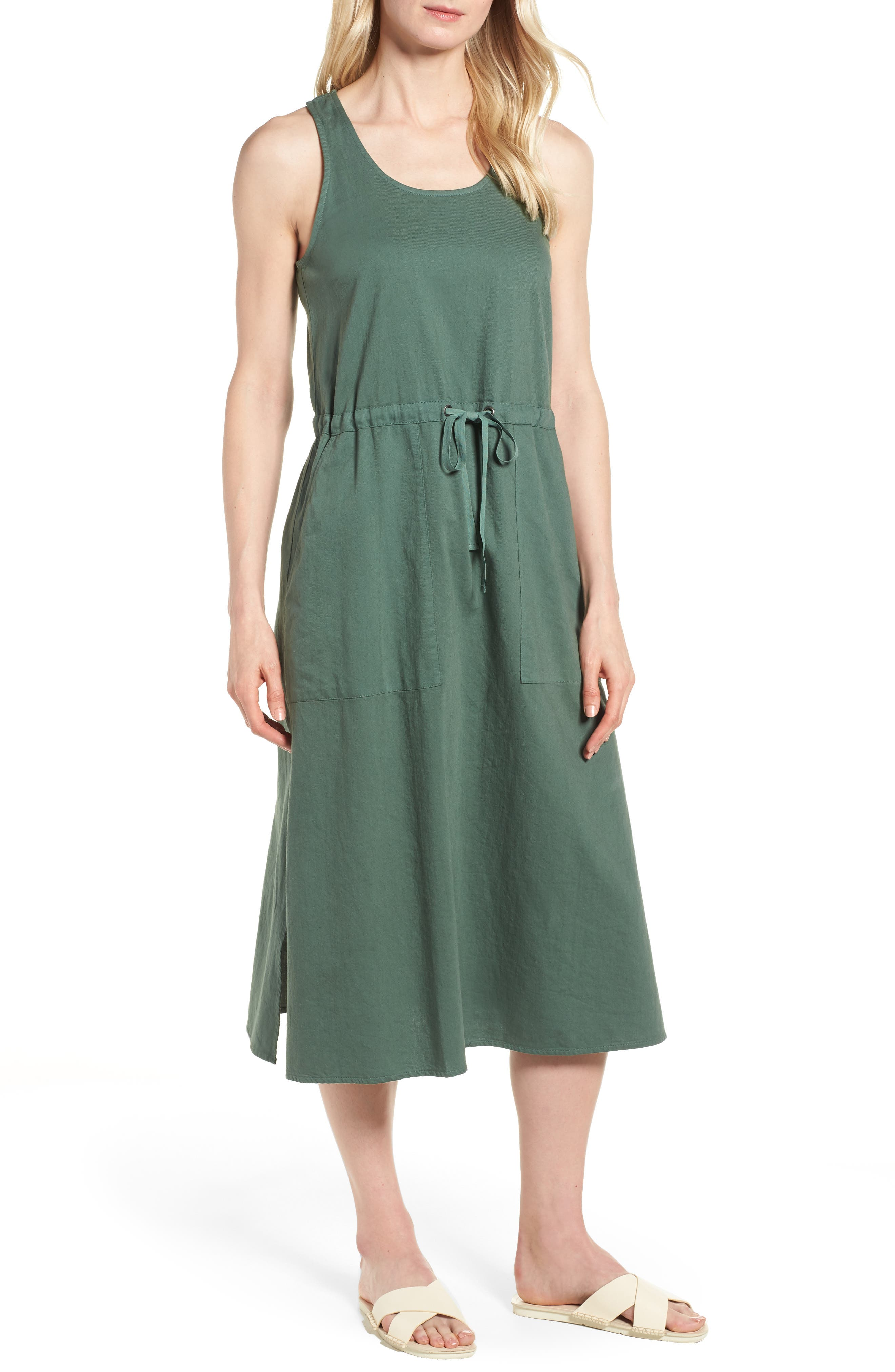 Drawstring Organic Cotton Midi Dress,                             Main thumbnail 3, color,