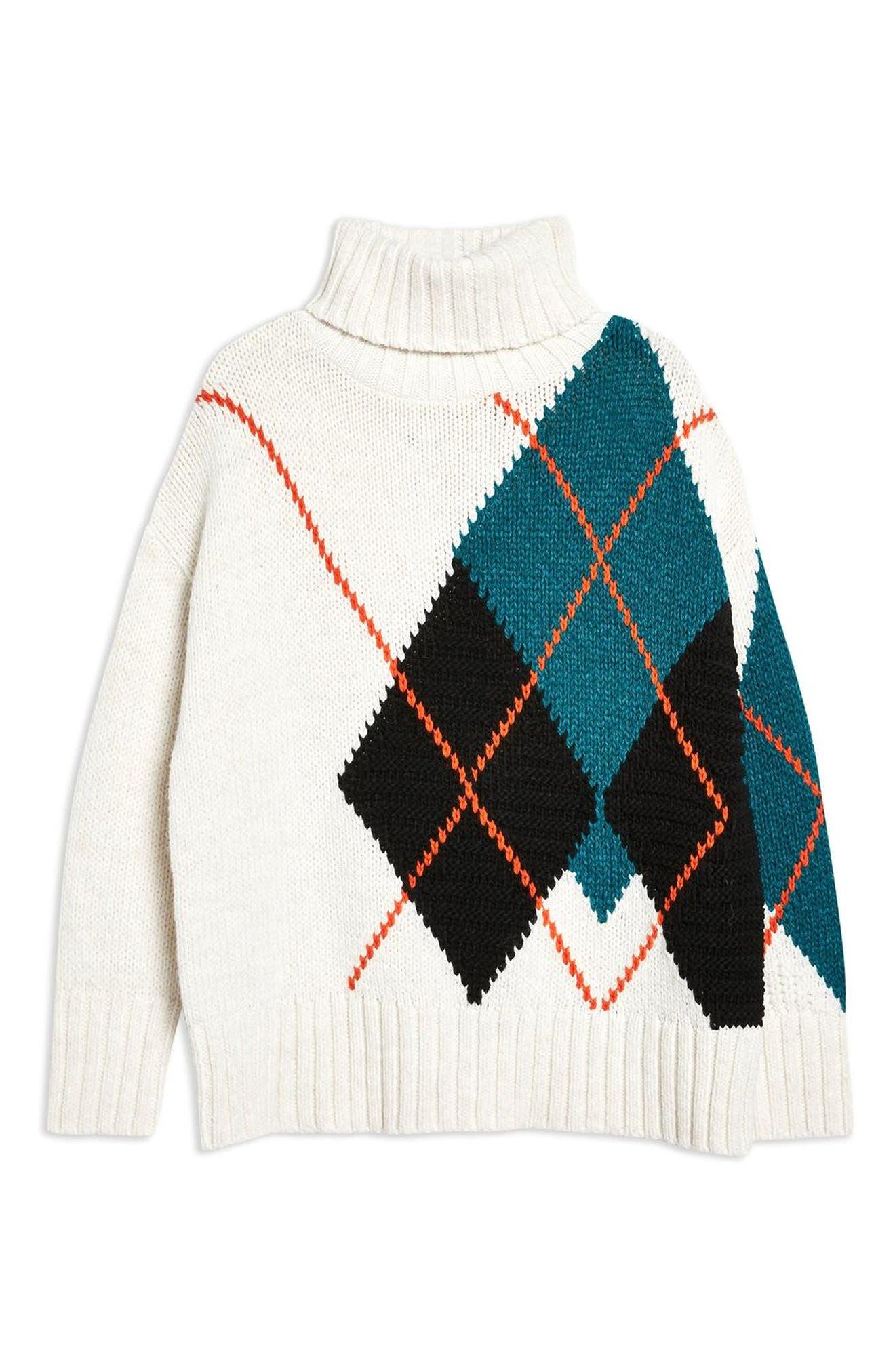 Oversized Argyle Turtleneck Sweater,                             Alternate thumbnail 4, color,                             IVORY MULTI