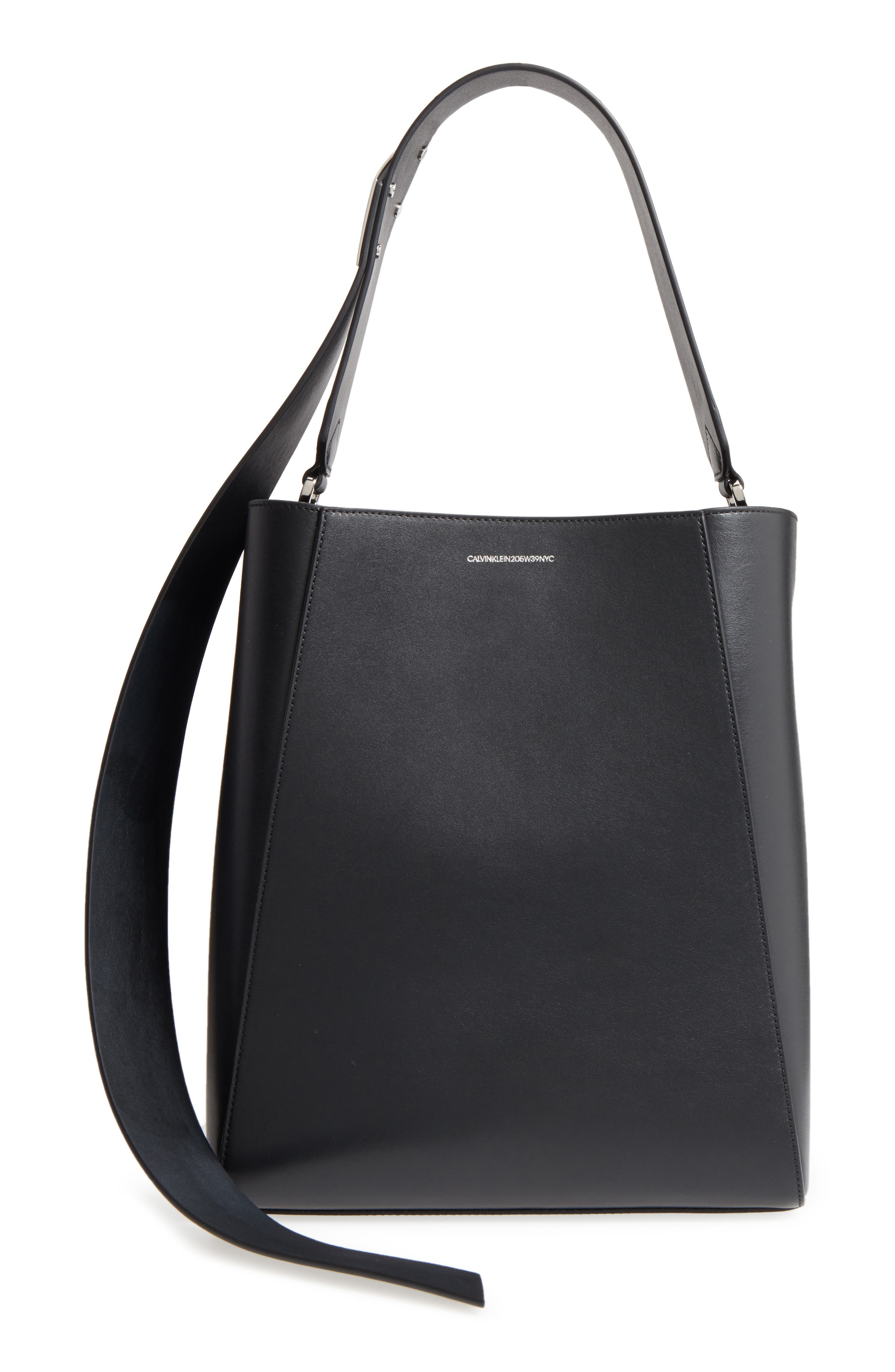 Medium Calfskin Leather Bucket Bag with Removable Pouch,                             Main thumbnail 1, color,                             001