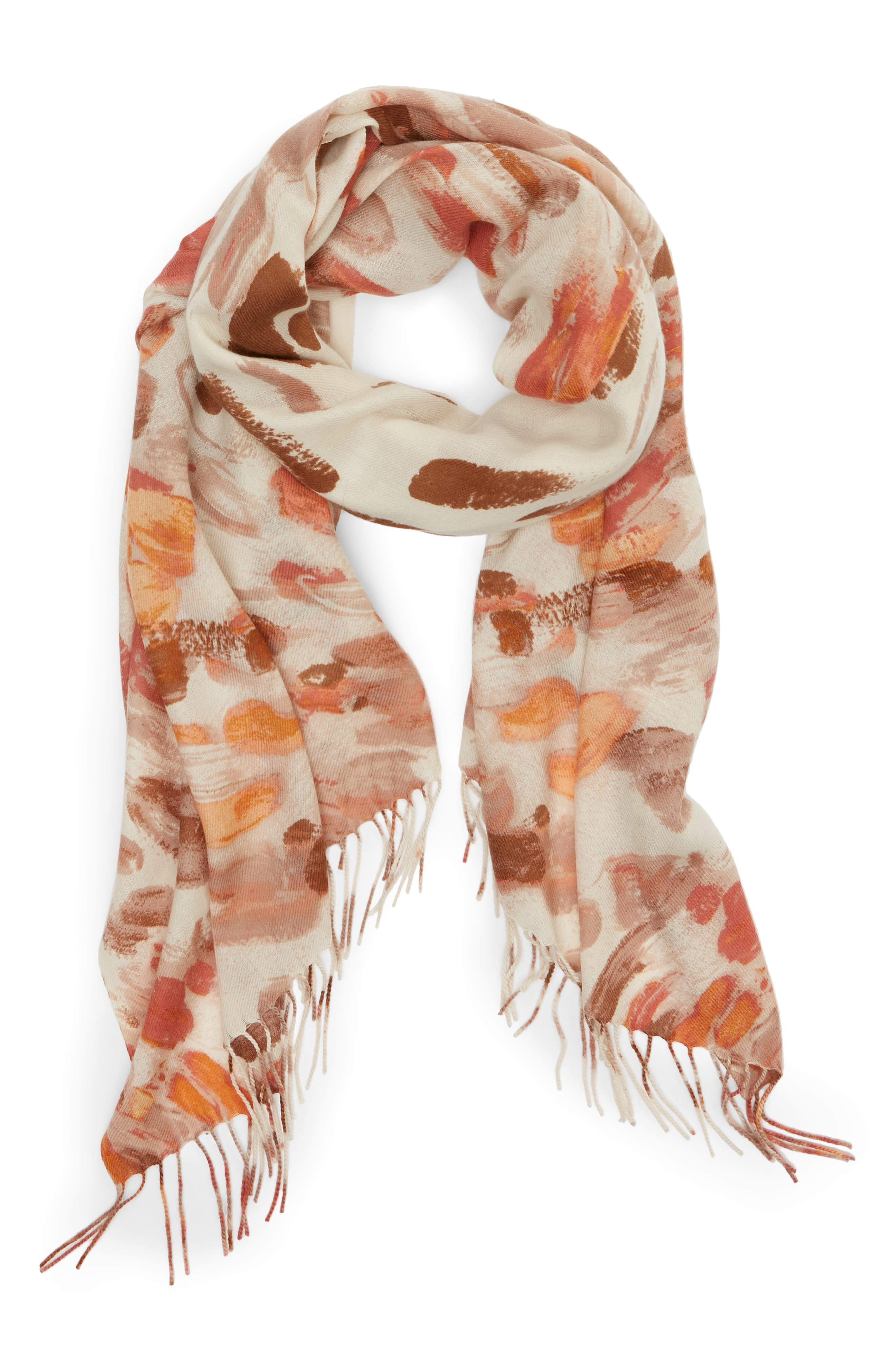 Tissue Print Wool & Cashmere Wrap Scarf,                             Alternate thumbnail 39, color,