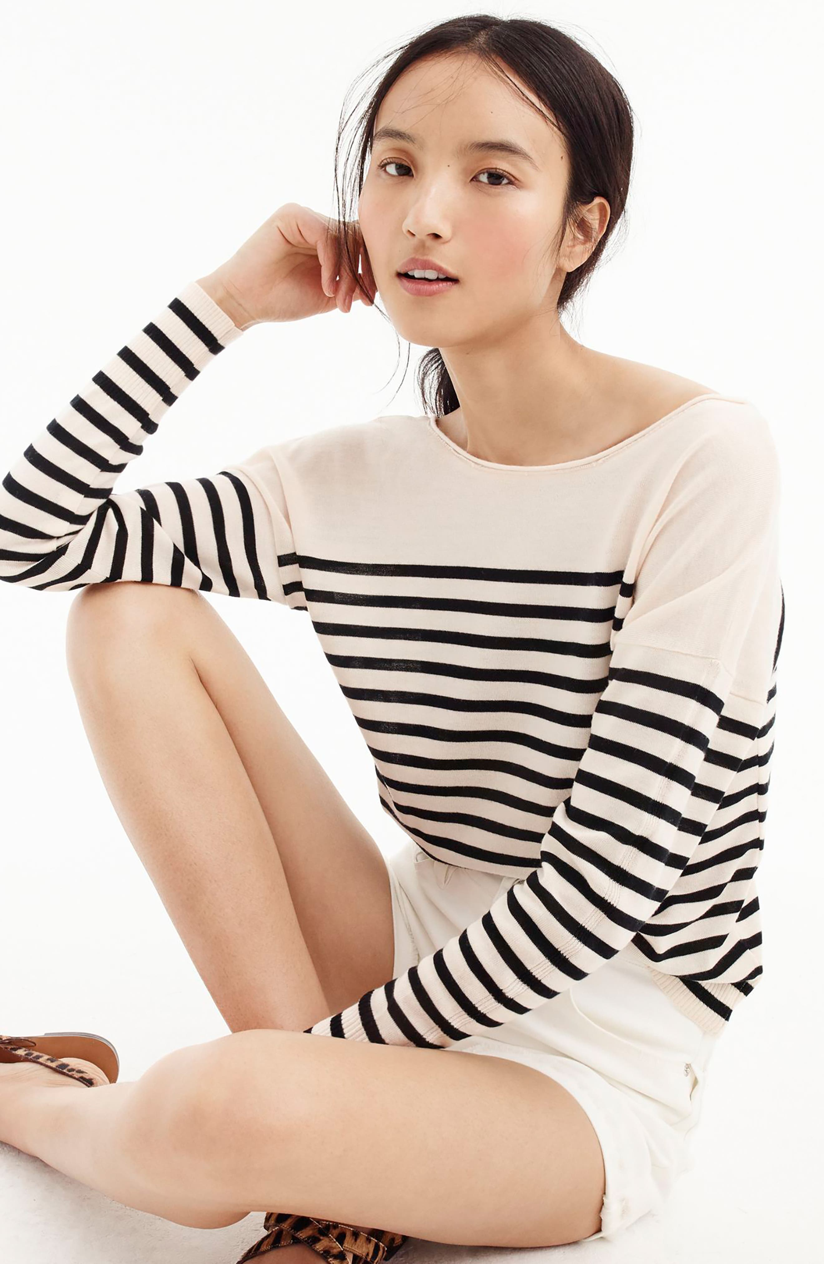 Penny Stripe Merino Wool Sweater,                             Alternate thumbnail 4, color,