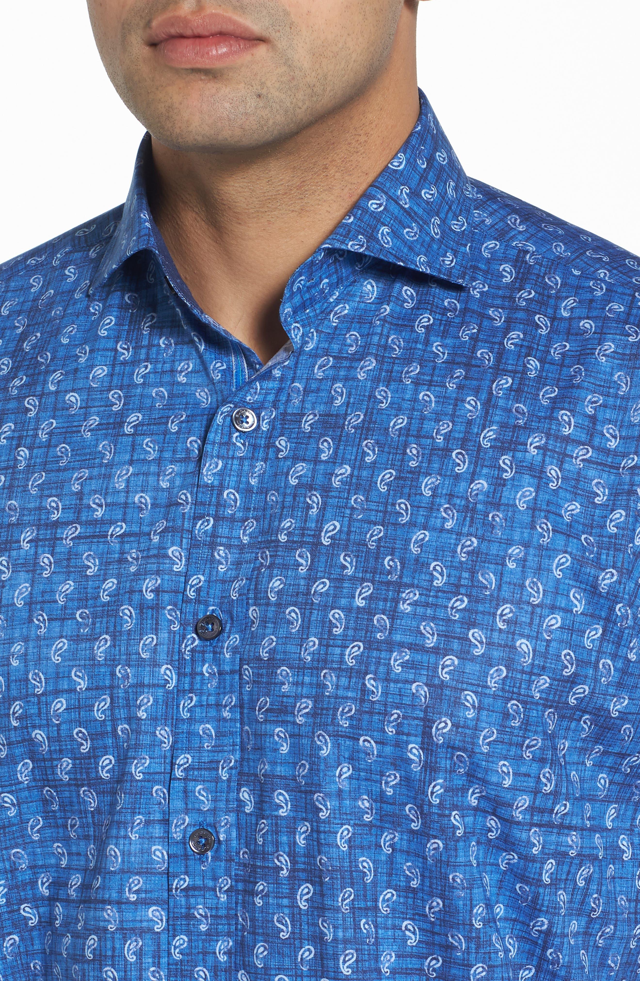 Classic Fit Paisley Sport Shirt,                             Alternate thumbnail 4, color,                             419
