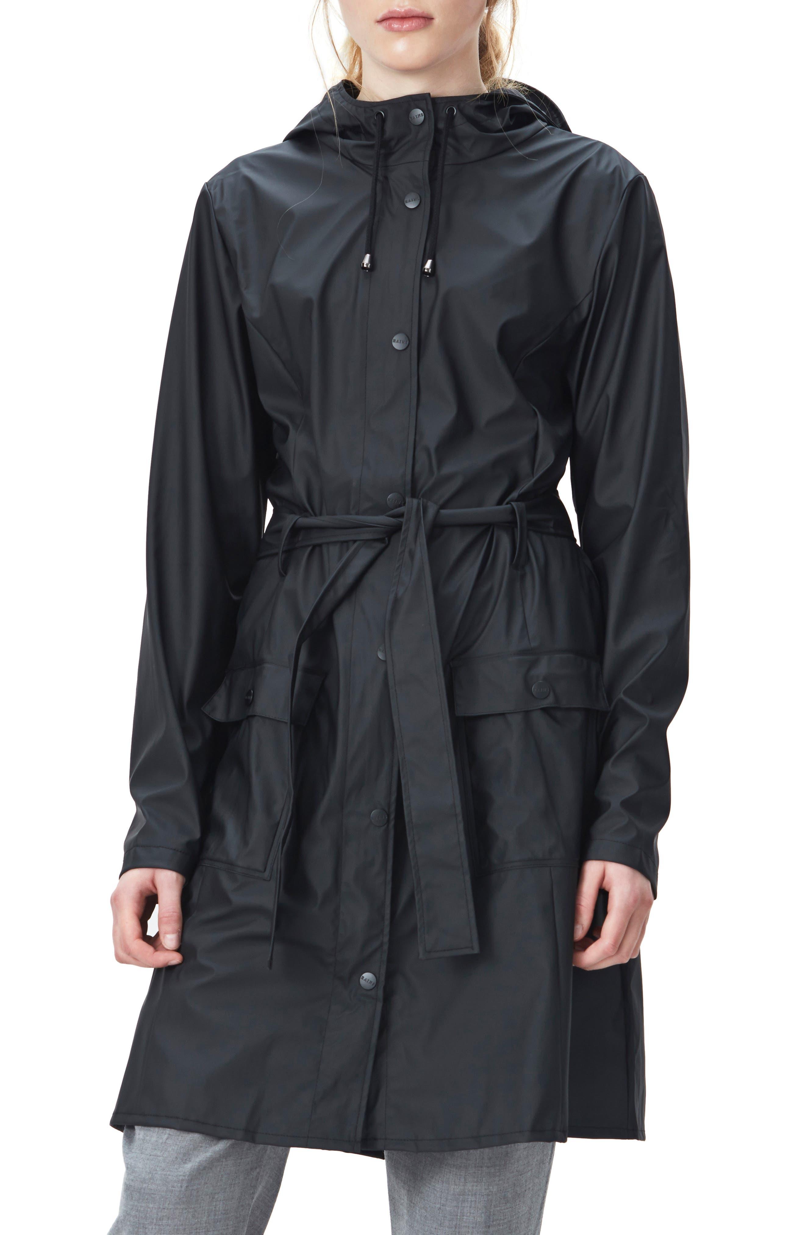 Curve Waterproof Hooded Rain Jacket, Main, color, BLACK