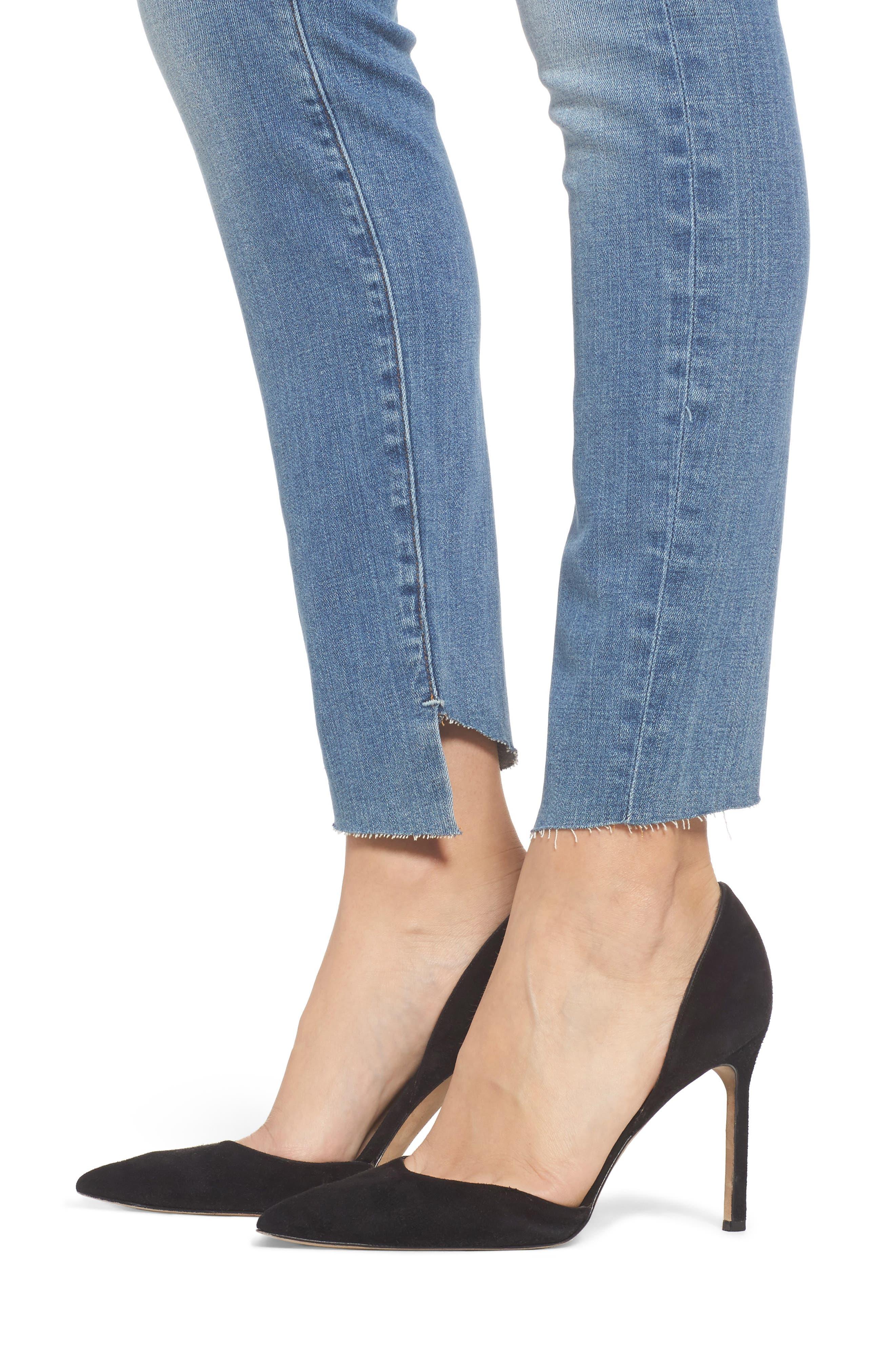 Good Legs High Waist Cascade Hem Skinny Jeans,                             Alternate thumbnail 4, color,                             401