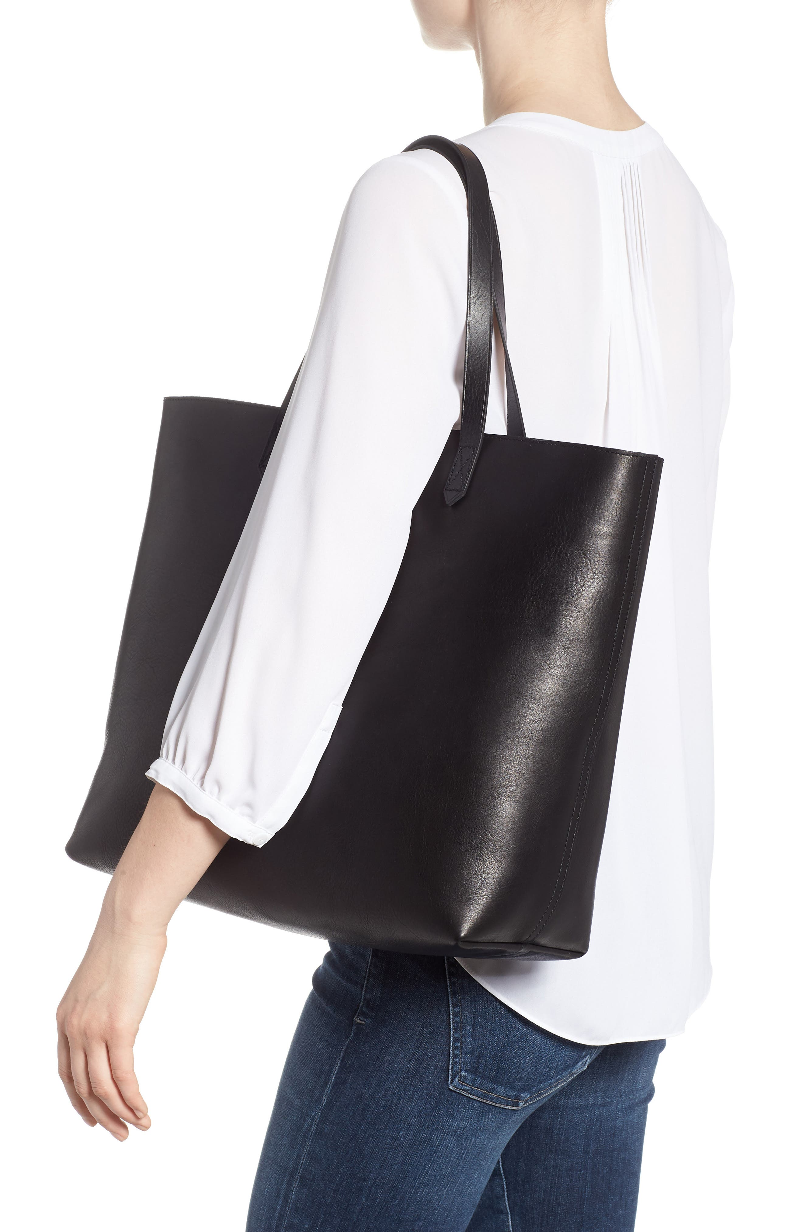 Zip Top Transport Leather Tote,                             Alternate thumbnail 2, color,                             TRUE BLACK