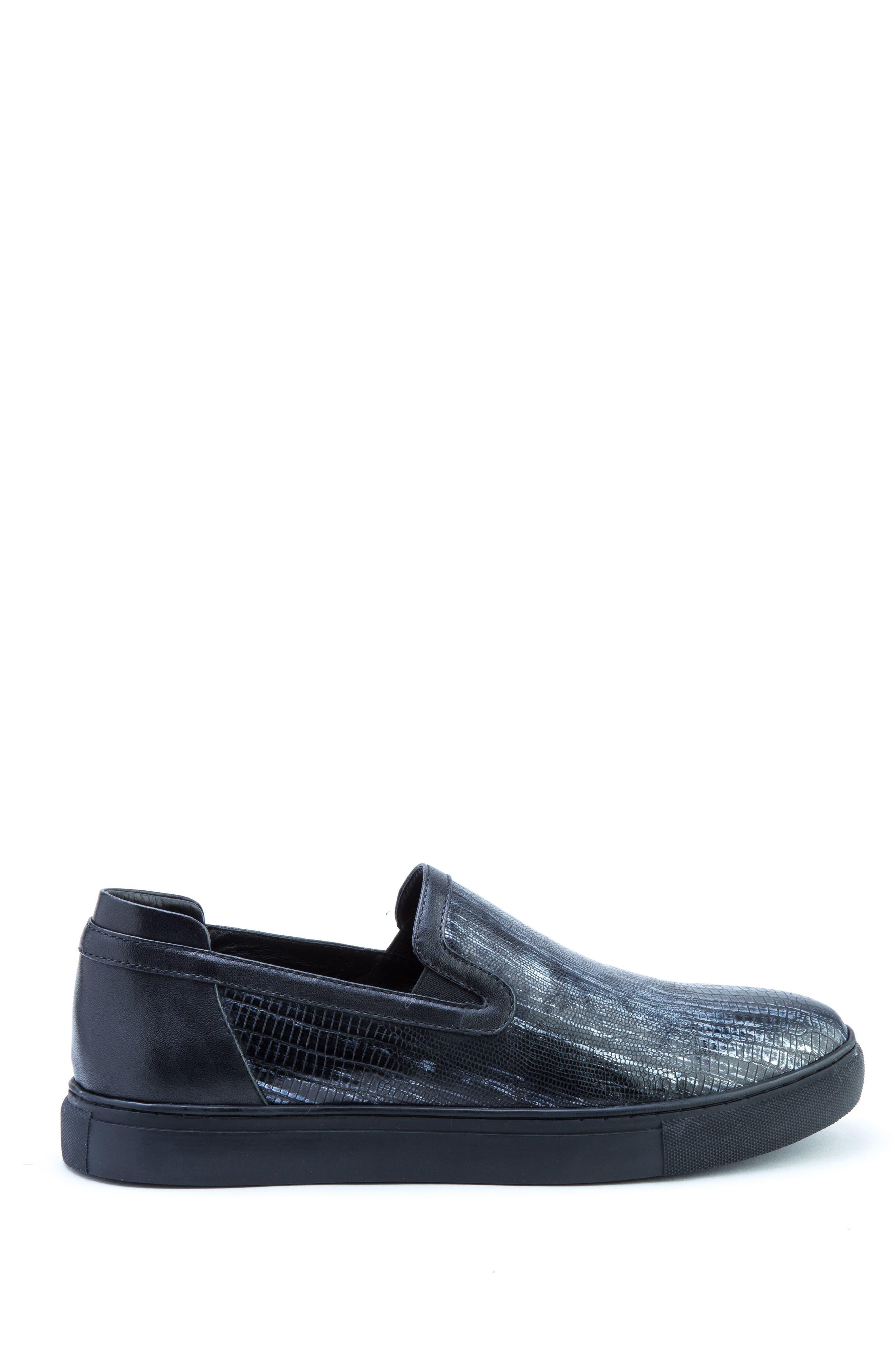 Bogart Sneaker,                             Alternate thumbnail 3, color,                             BLACK LEATHER