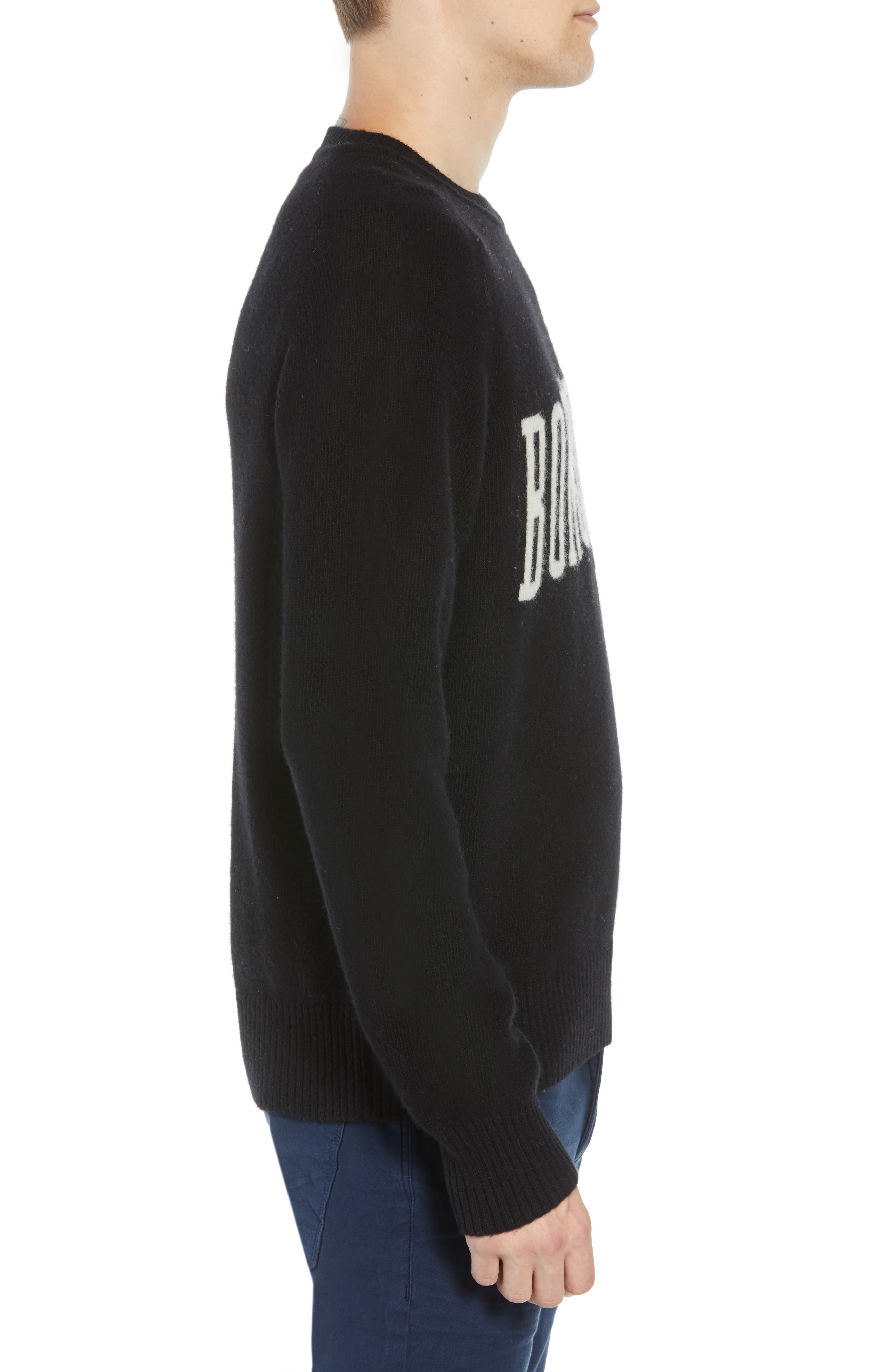 Bonjour Wool Blend Sweater,                             Alternate thumbnail 3, color,                             BLACK WHITECAP GREY
