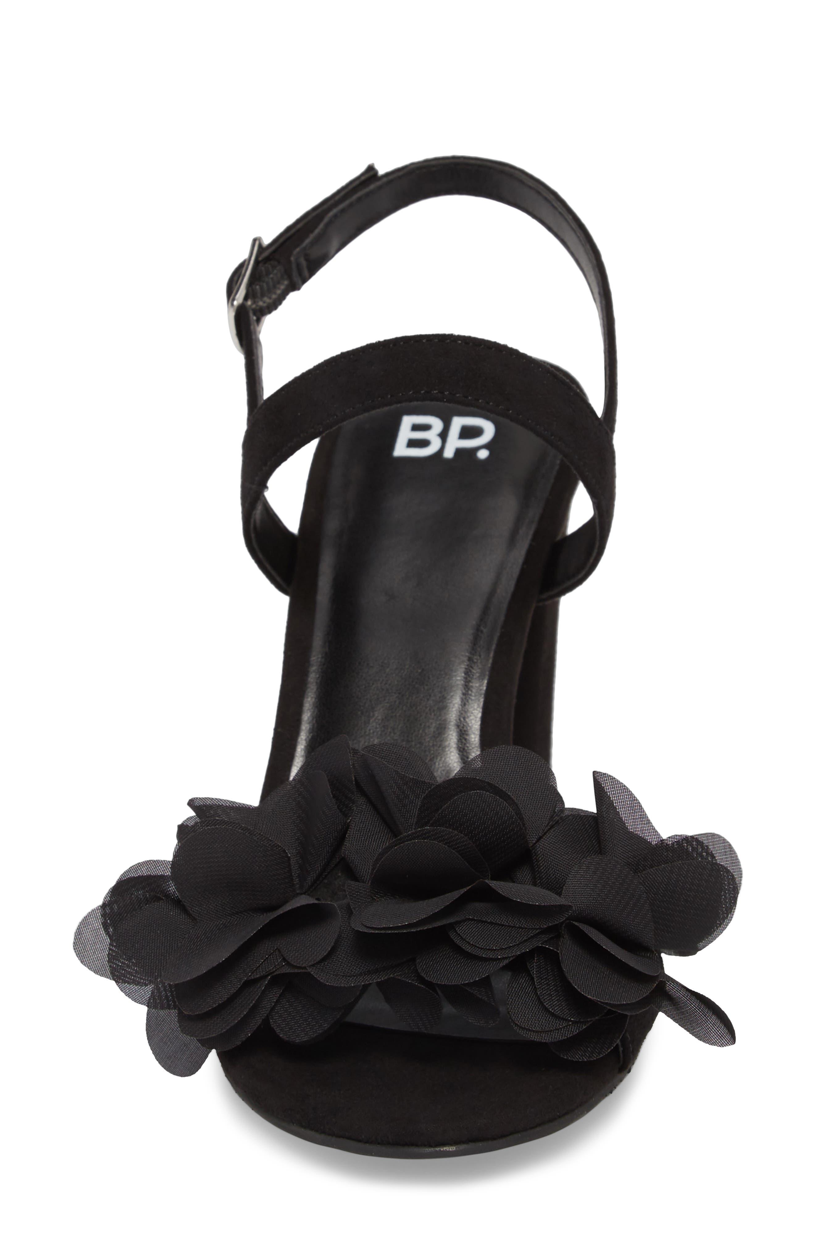 Lula Block Heel Slingback Sandal,                             Alternate thumbnail 4, color,                             BLACK FLOWERS FABRIC