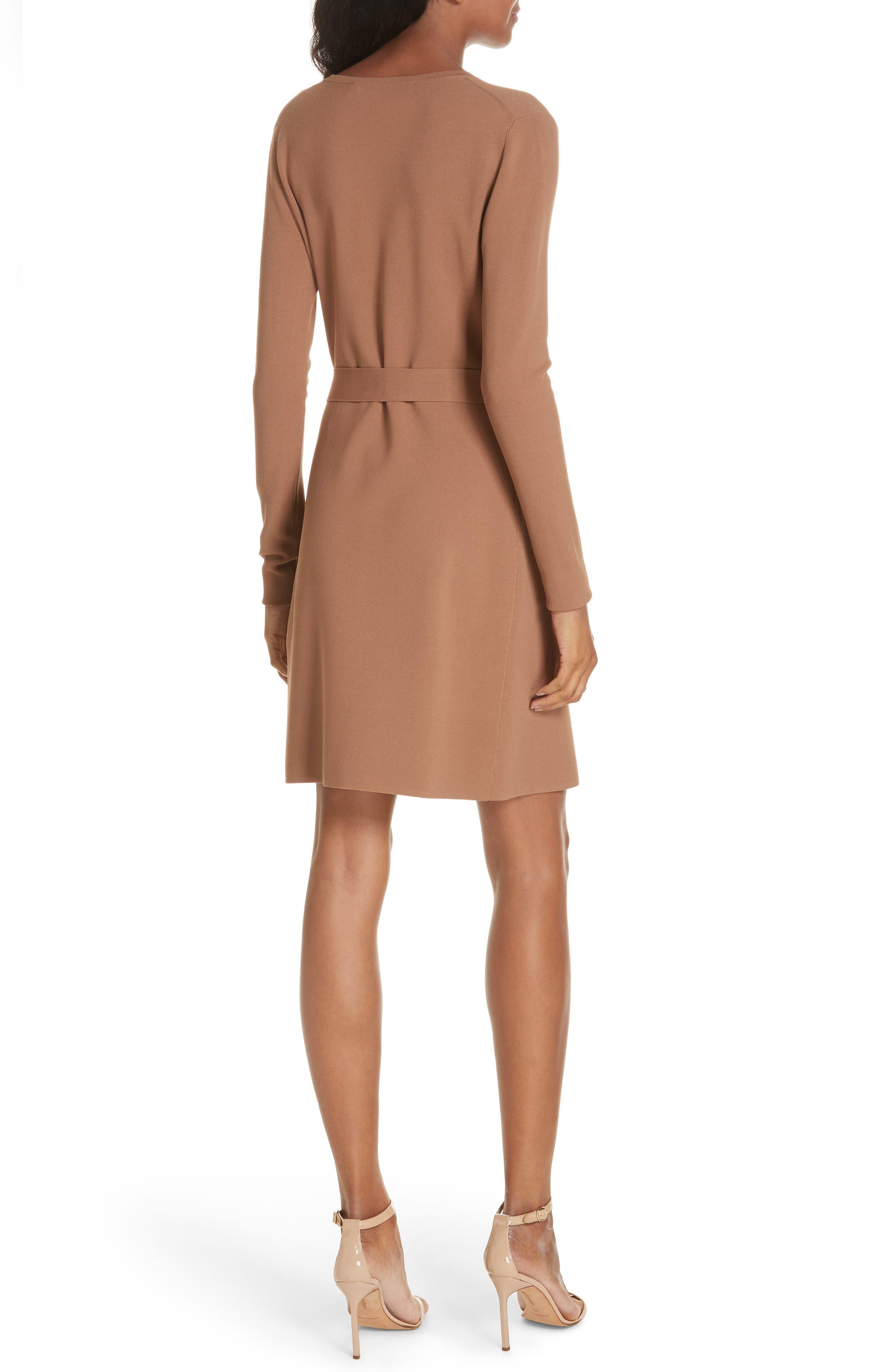Diane von Furstenberg Knit Wrap Dress,                             Alternate thumbnail 2, color,                             WALNUT