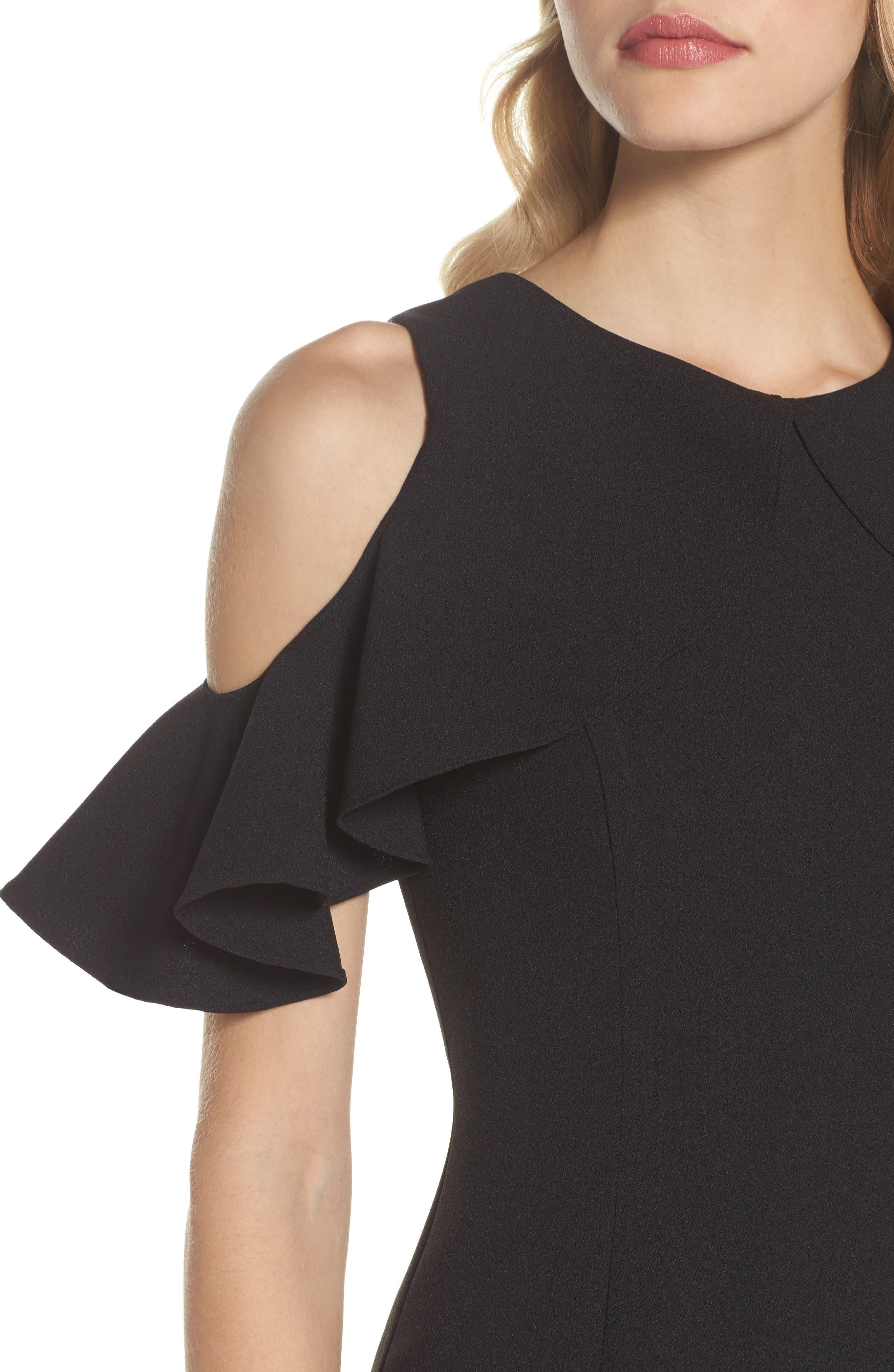 Ruffle Cold Shoulder Crepe Gown,                             Alternate thumbnail 4, color,                             001
