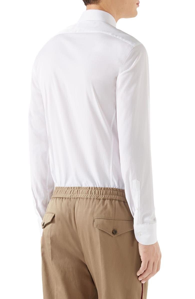 Gucci Mens Logo Embroidered Collar Poplin Sport Shirt In White