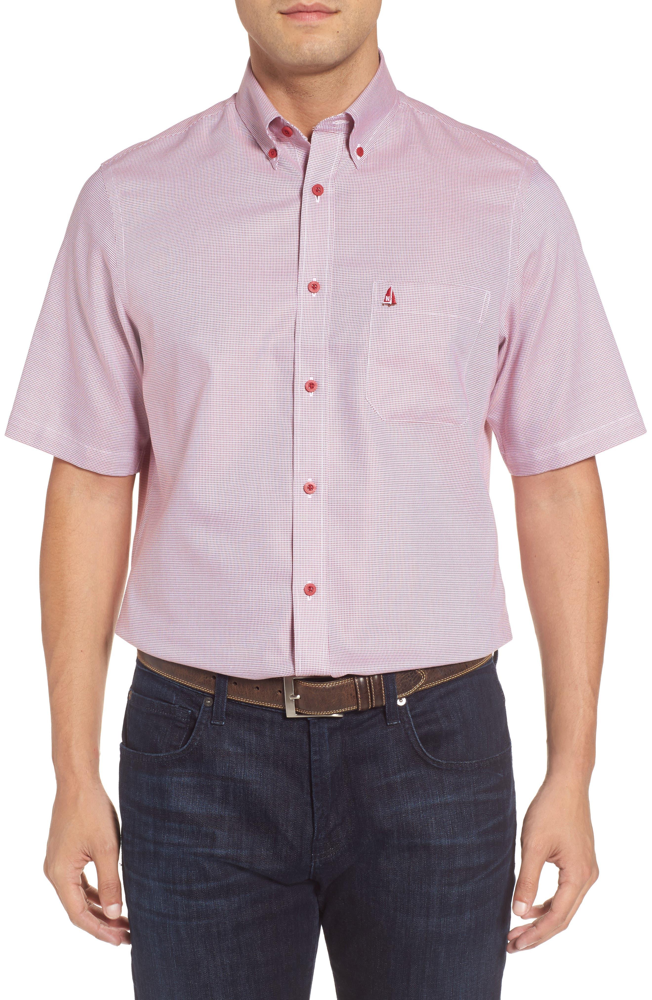'Classic' Smartcare<sup>™</sup> Regular Fit Short Sleeve Cotton Sport Shirt,                             Alternate thumbnail 41, color,