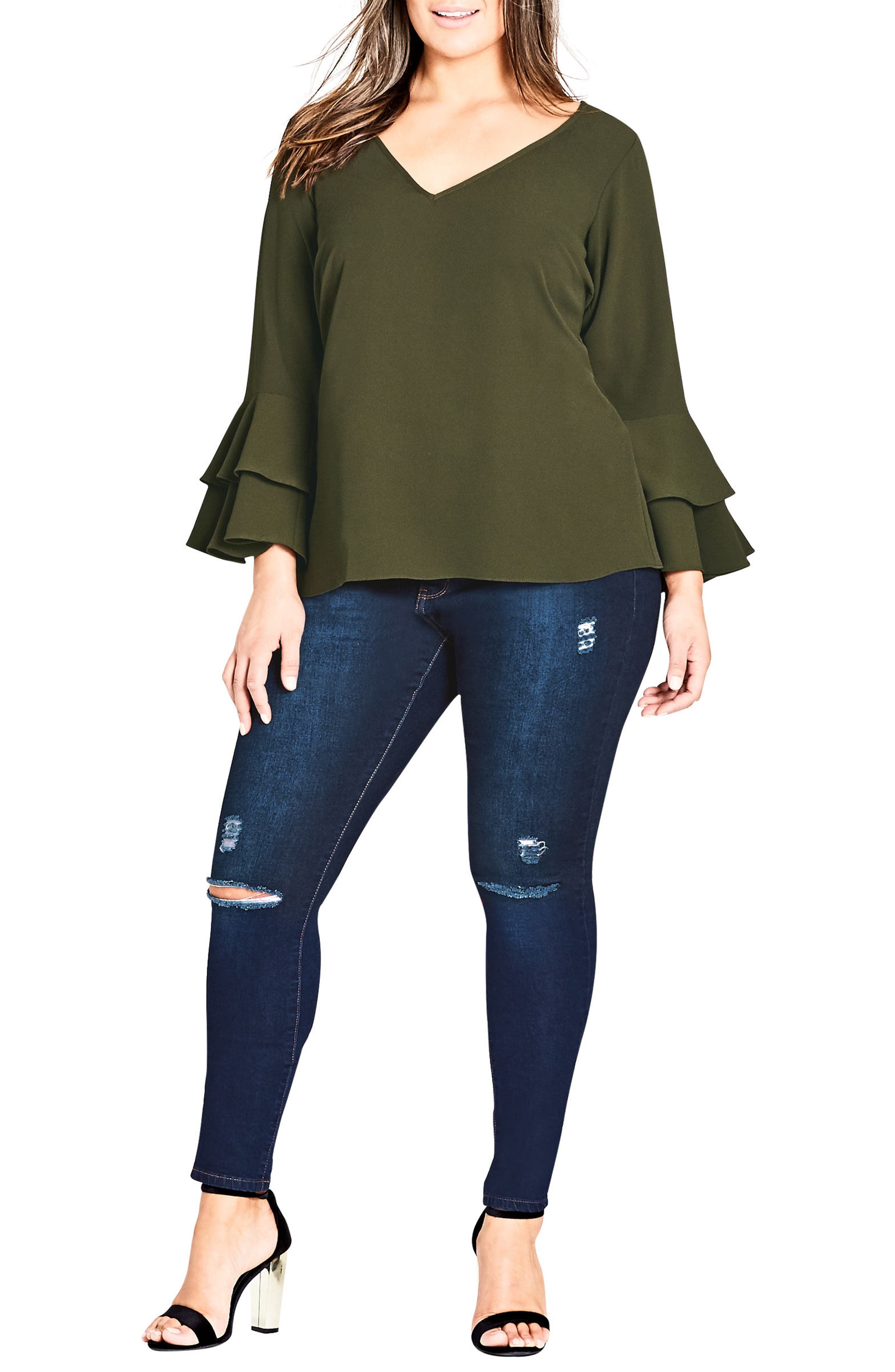Double Frill Sleeve Top,                             Alternate thumbnail 3, color,                             309