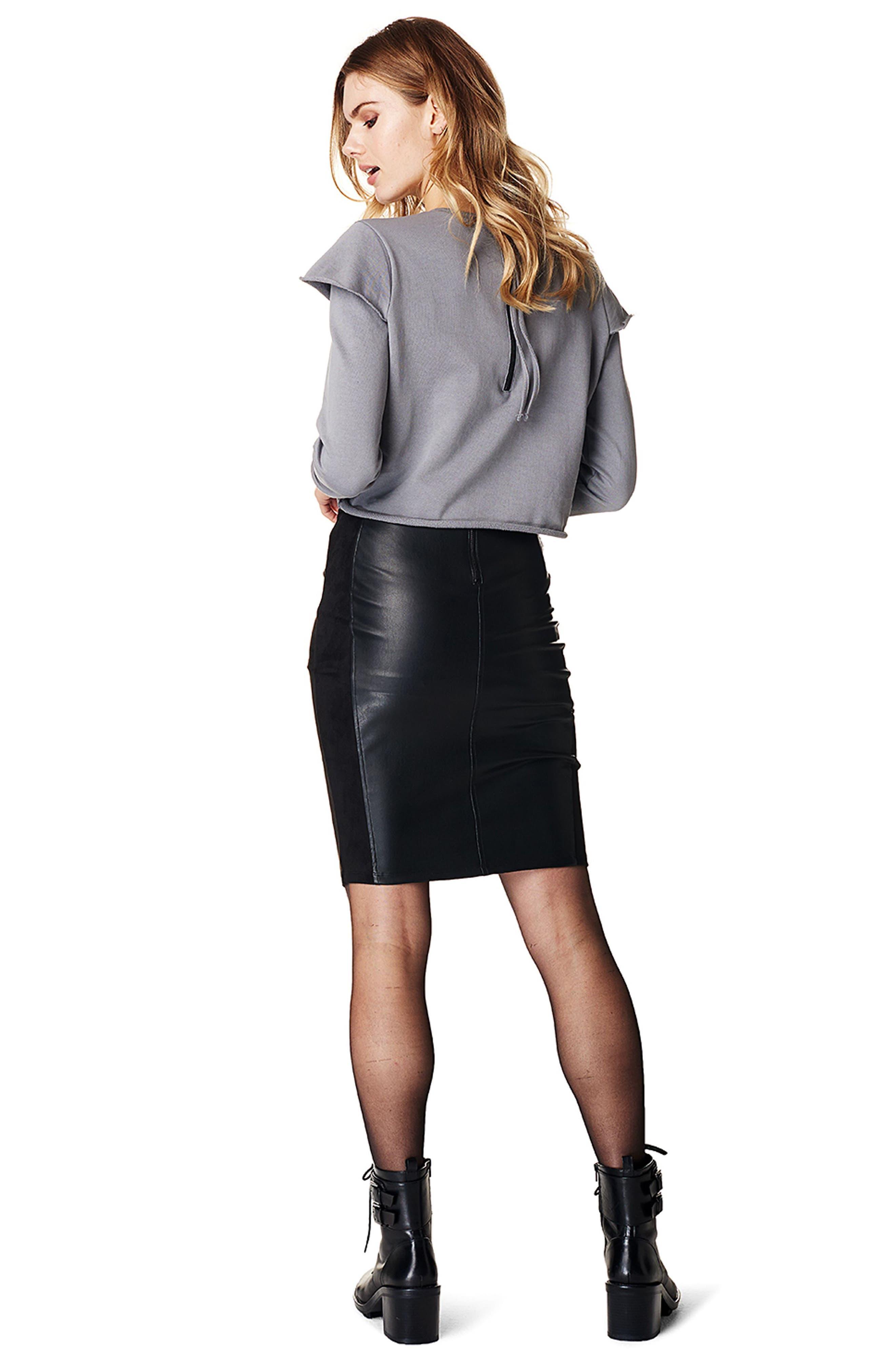 SUPERMOM,                             High Waist Faux Leather Skirt,                             Alternate thumbnail 2, color,                             001