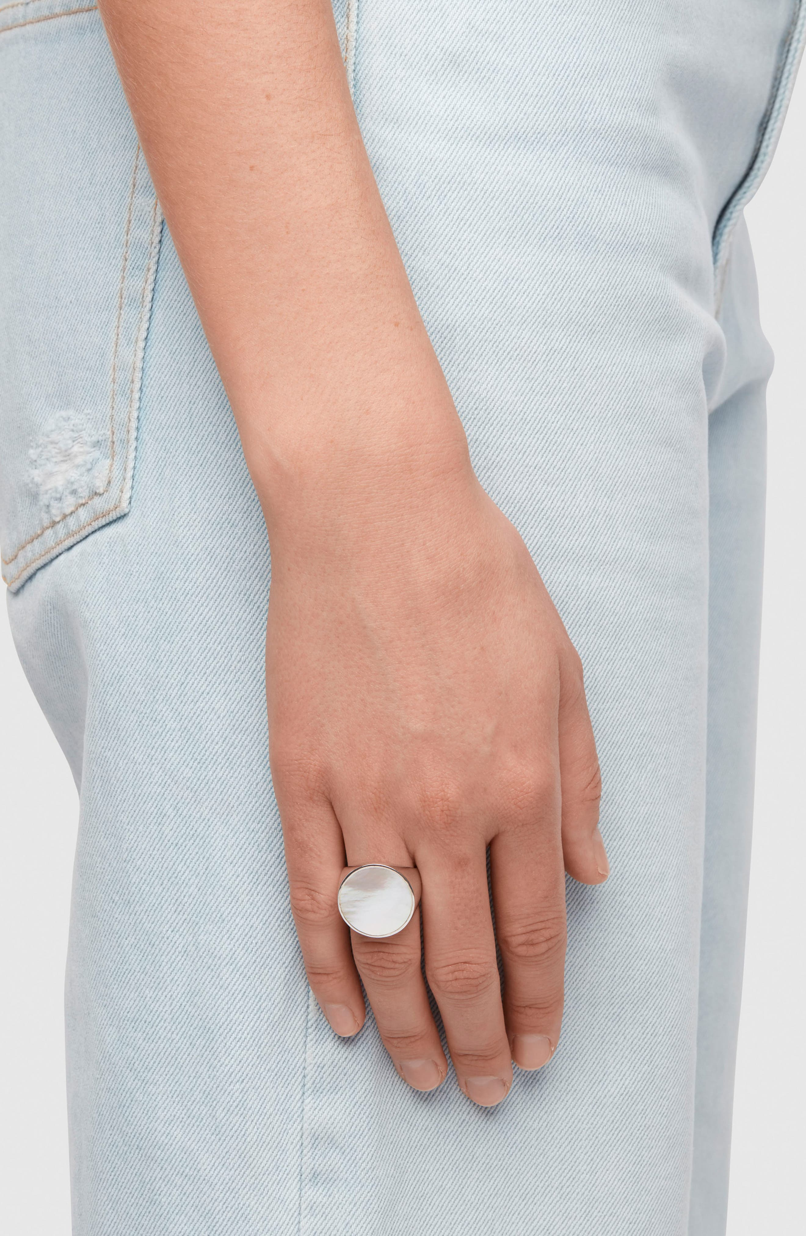 Flush White Mother of Pearl Signet Ring,                             Alternate thumbnail 2, color,