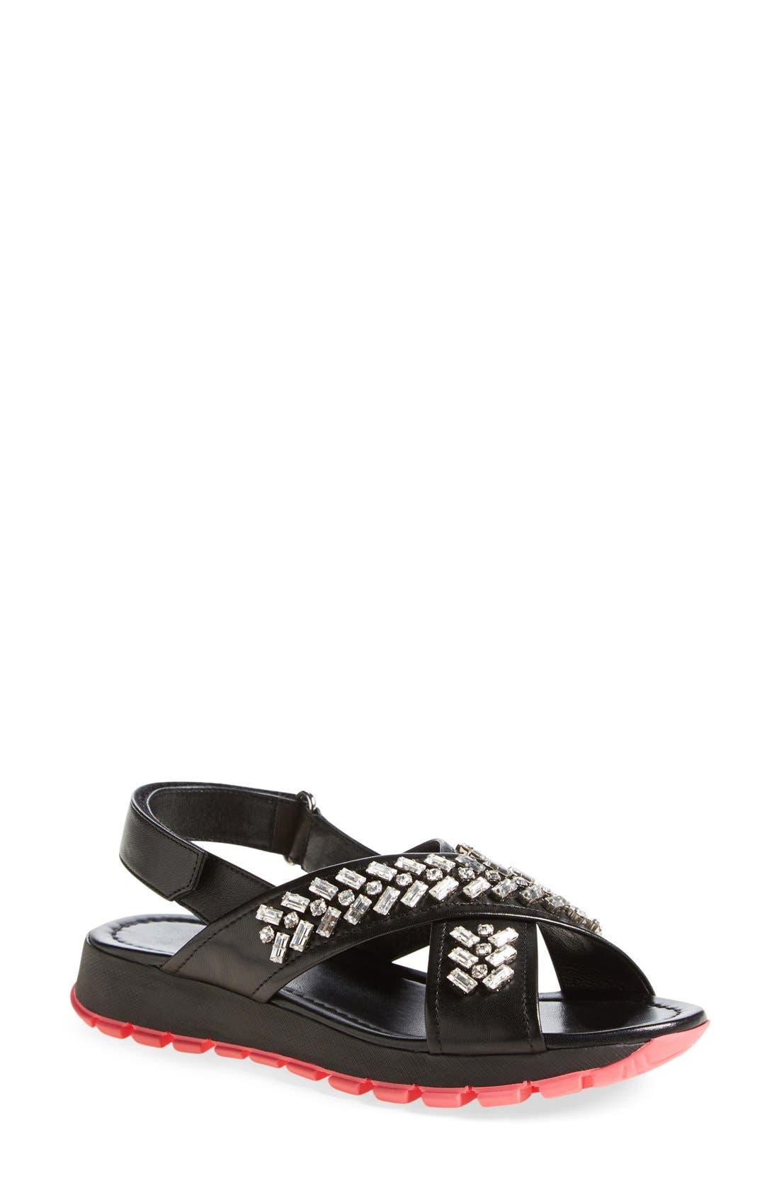 Swarovski Crystal Embellished Crisscross Sandal, Main, color, 001