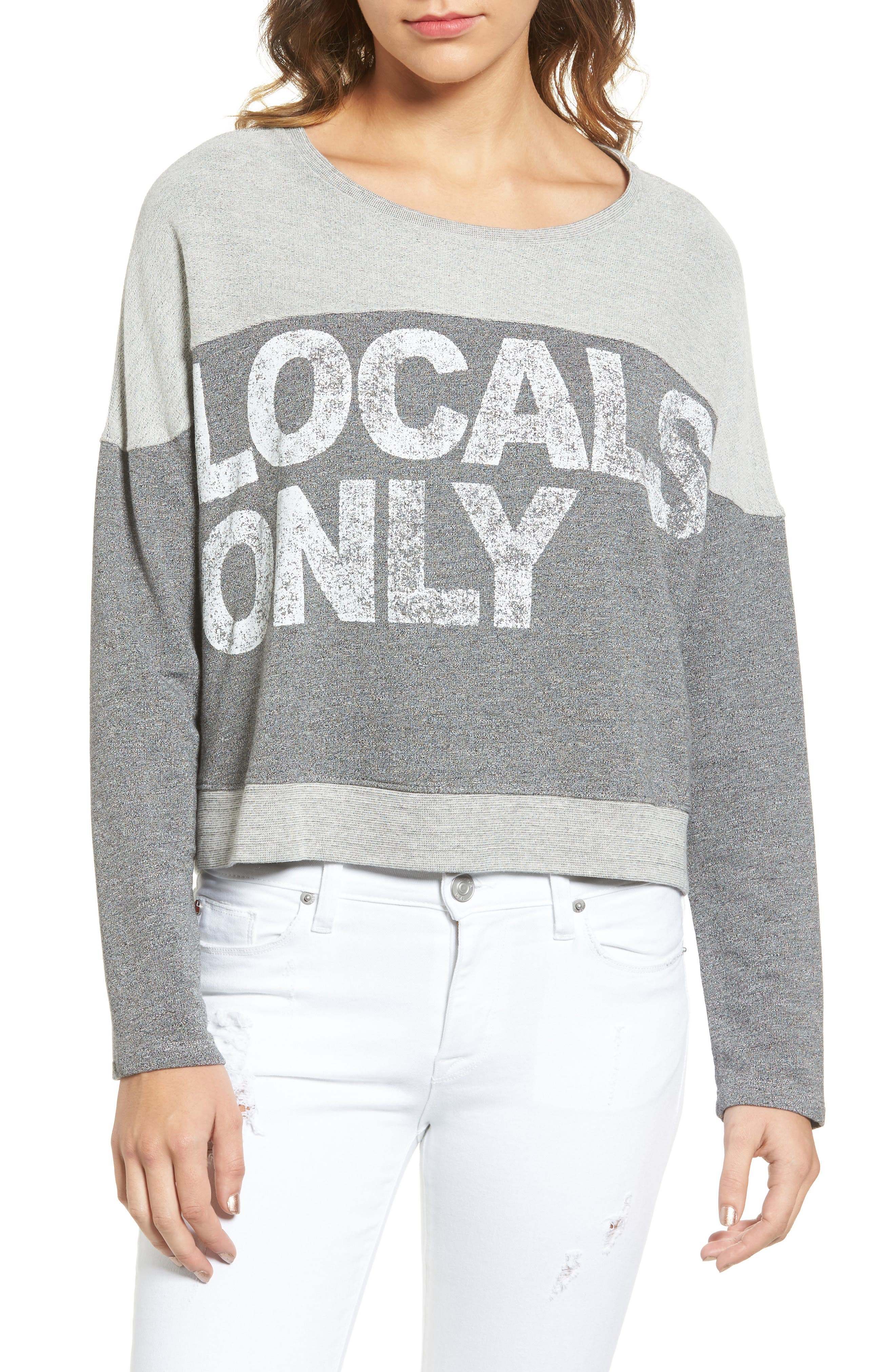 SUNDRY Locals Only Crop Pullover, Main, color, 039