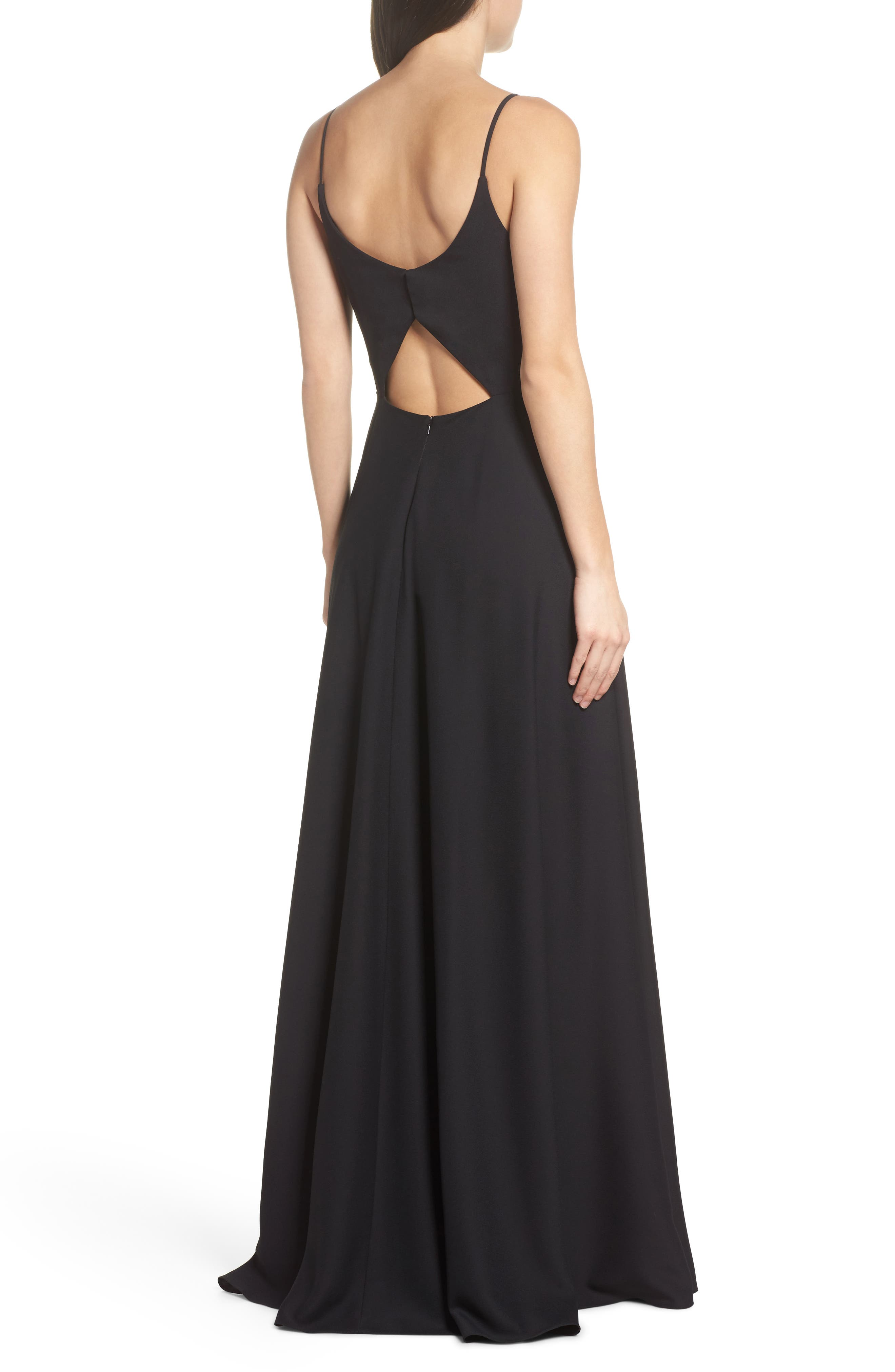 Cutout Crepe A-Line Gown,                             Alternate thumbnail 2, color,                             002