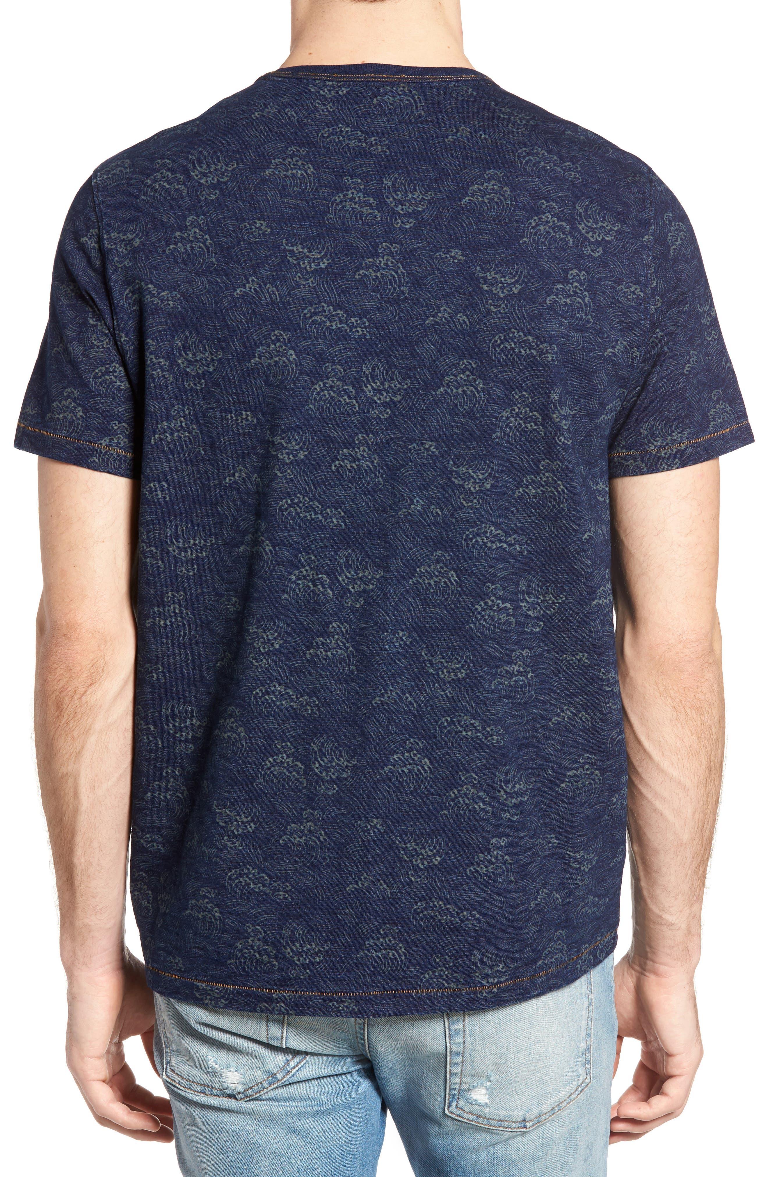 Swell Print Indigo Slub Jersey T-Shirt,                             Alternate thumbnail 2, color,