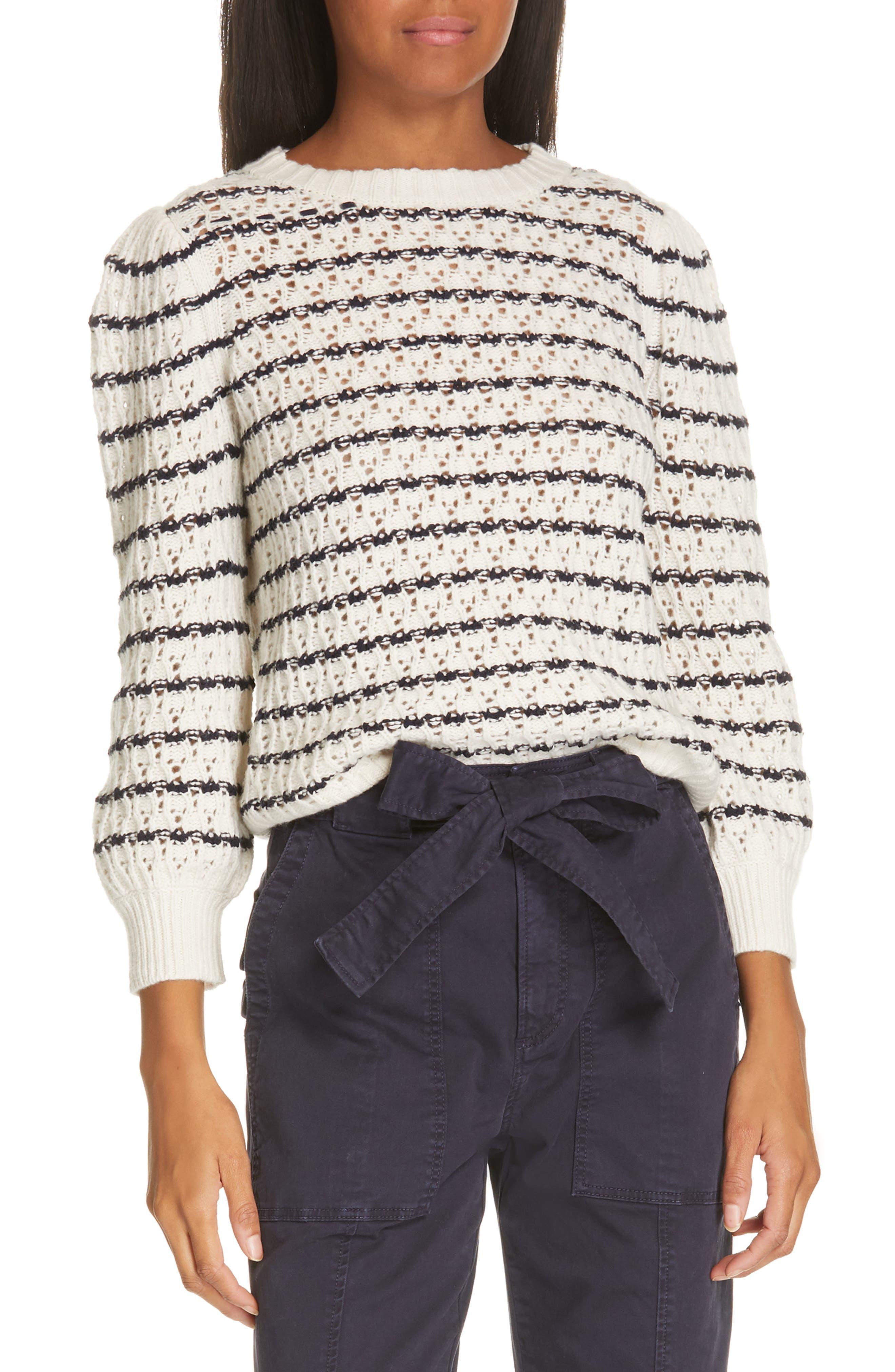 LA VIE REBECCA TAYLOR,                             Stripe Pointelle Sweater,                             Main thumbnail 1, color,                             ECRU/ MIDNIGHT NAVY