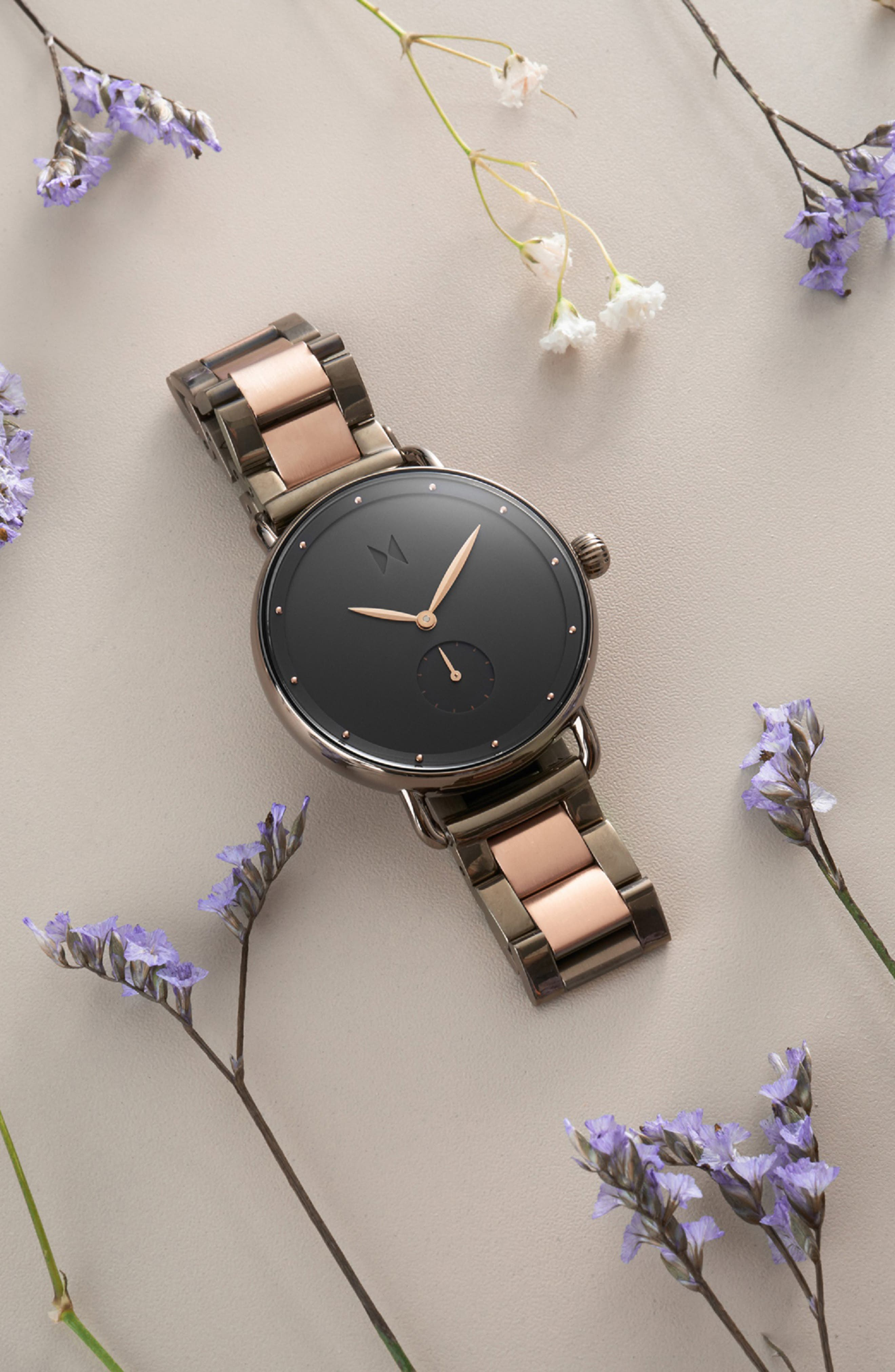MVMT,                             Bloom Bracelet Watch, 36mm,                             Alternate thumbnail 4, color,                             ROSE GOLD/ GUNMETAL
