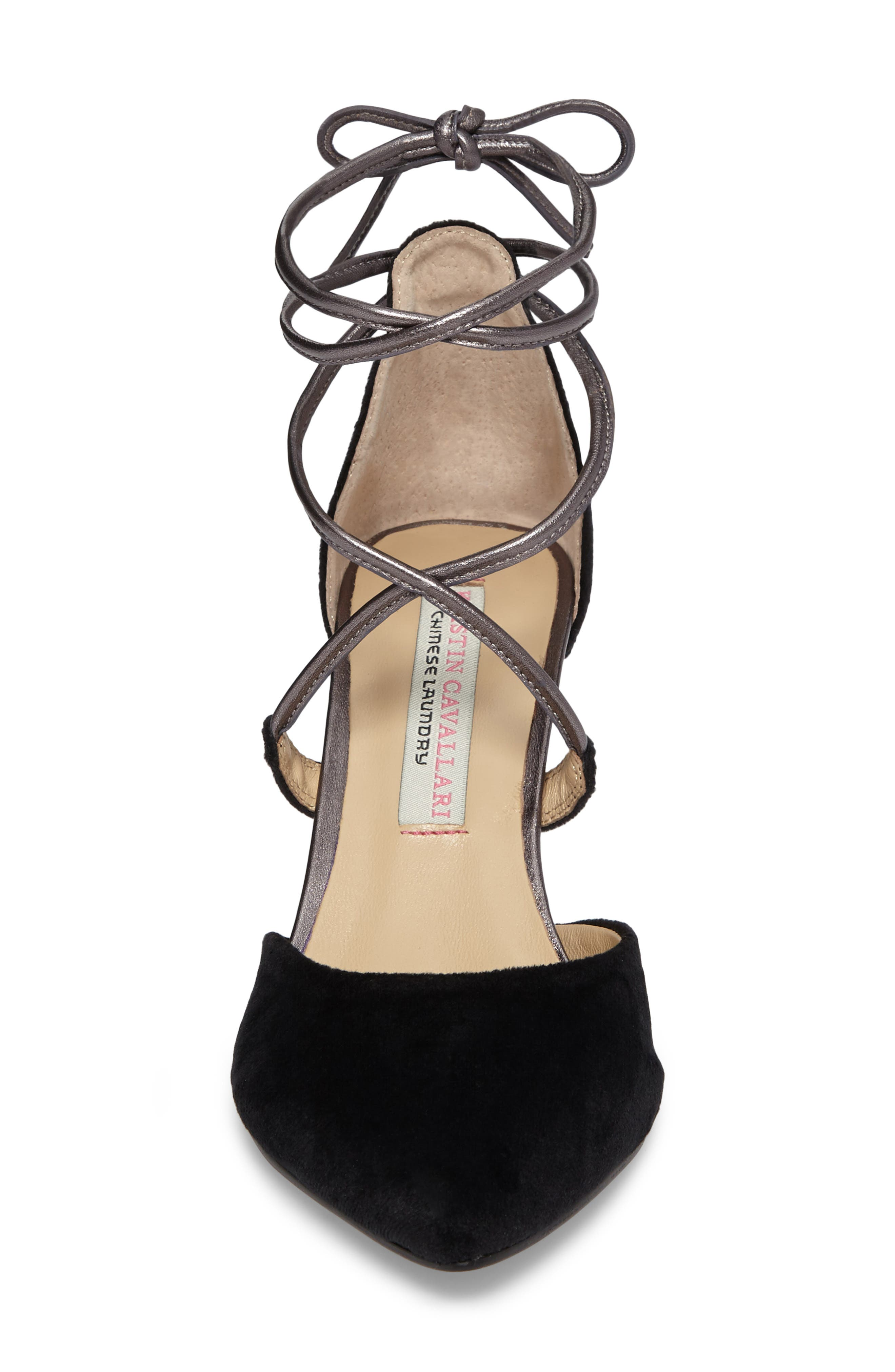 'Opel' Lace-Up Pointy Toe Pump,                             Alternate thumbnail 4, color,                             002