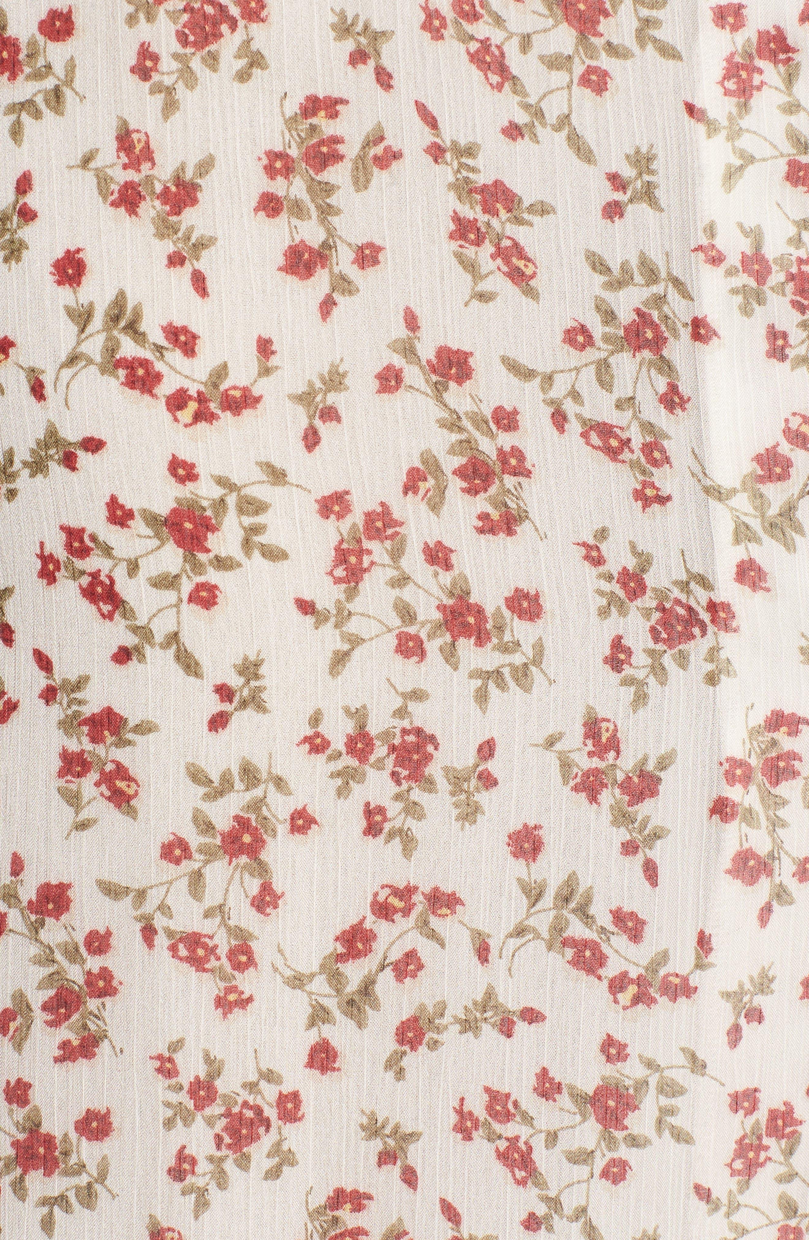 Faretta Midi Dress,                             Alternate thumbnail 6, color,                             RED ROMANCE FLORAL