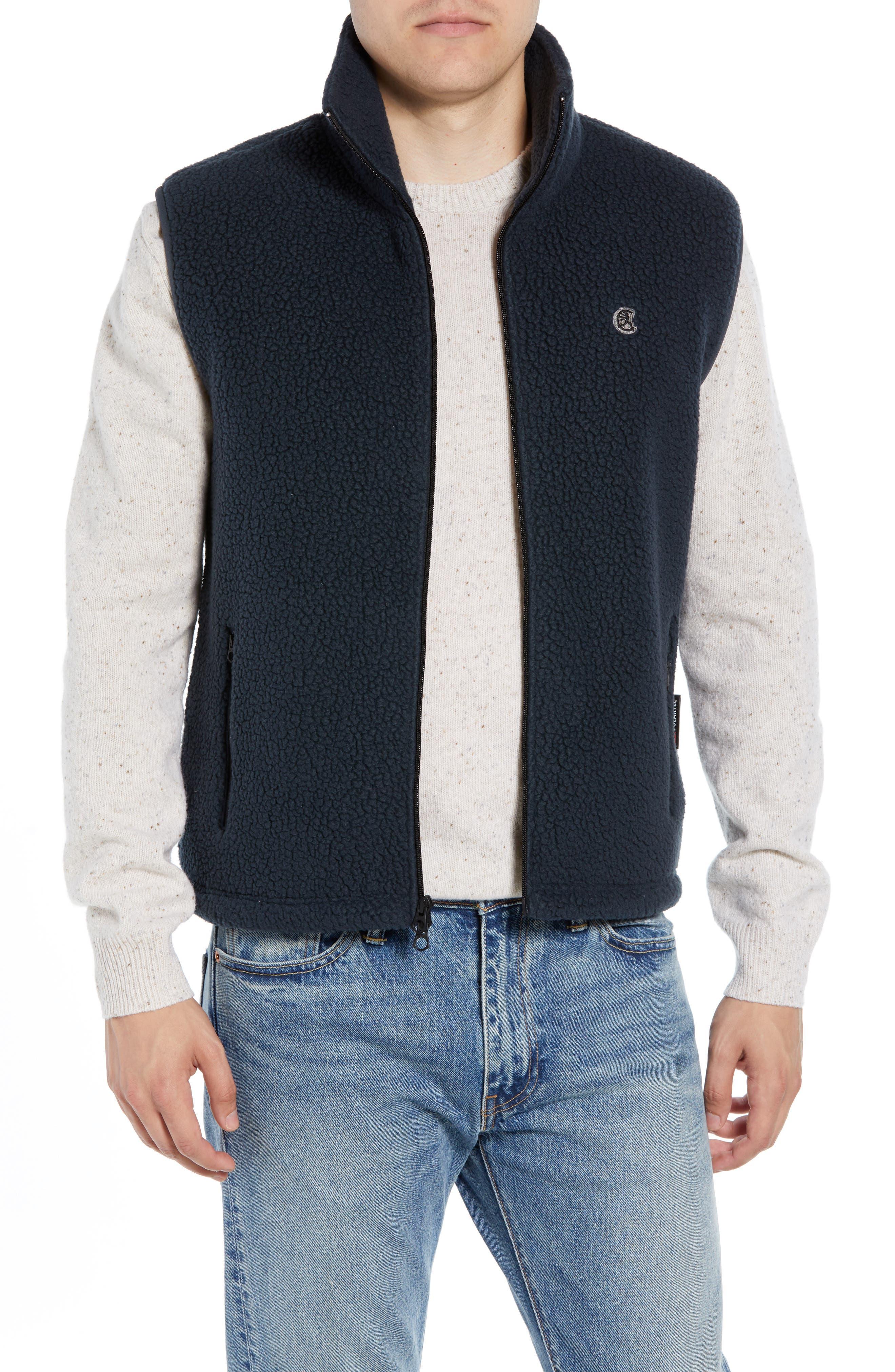 Fleece Zip Vest,                         Main,                         color, NAVY