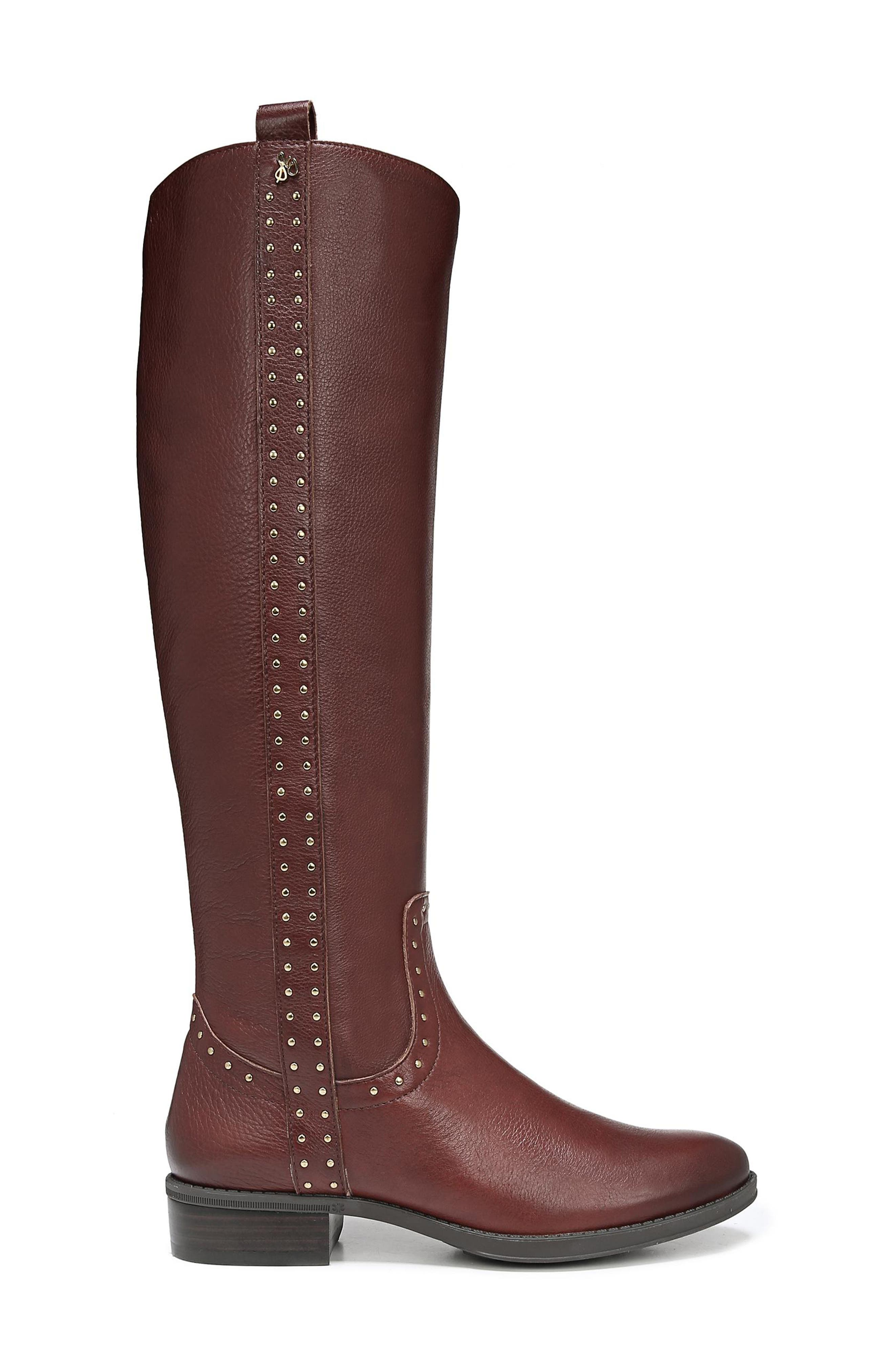 Prina Riding Boot,                             Alternate thumbnail 3, color,                             REDWOOD BROWN LEATHER