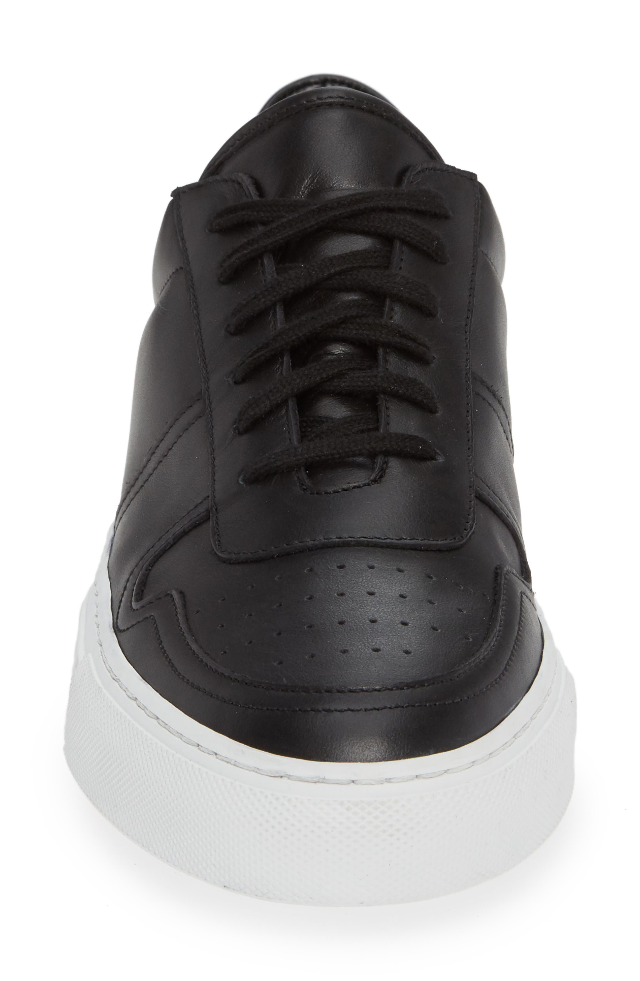 Bball Low Top Sneaker,                             Alternate thumbnail 4, color,                             BLACK