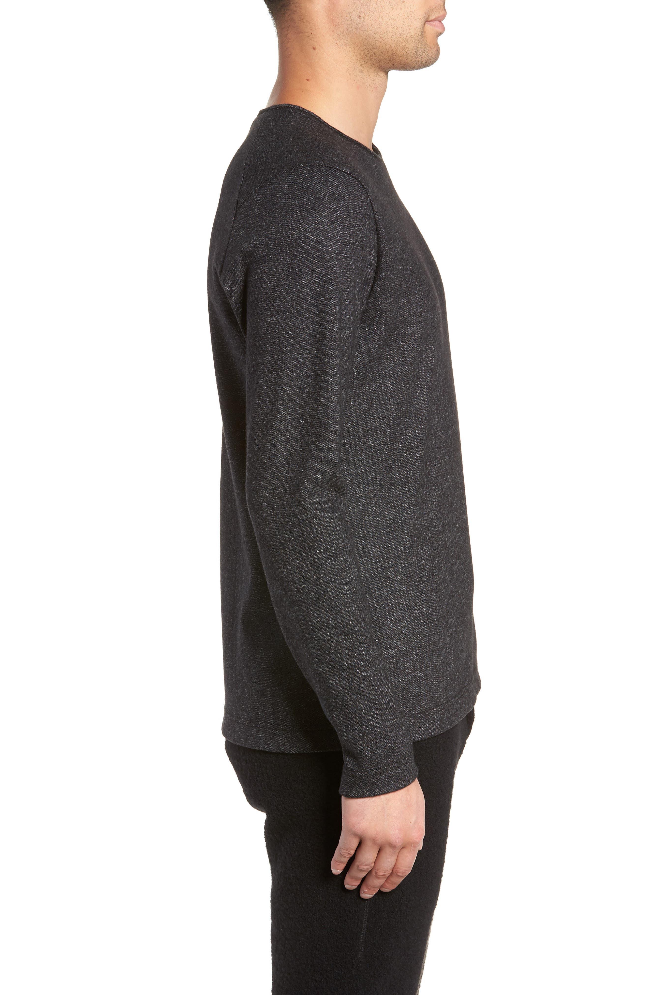 Crewneck Wool Blend Sweater,                             Alternate thumbnail 3, color,                             MEDIUM BLACK
