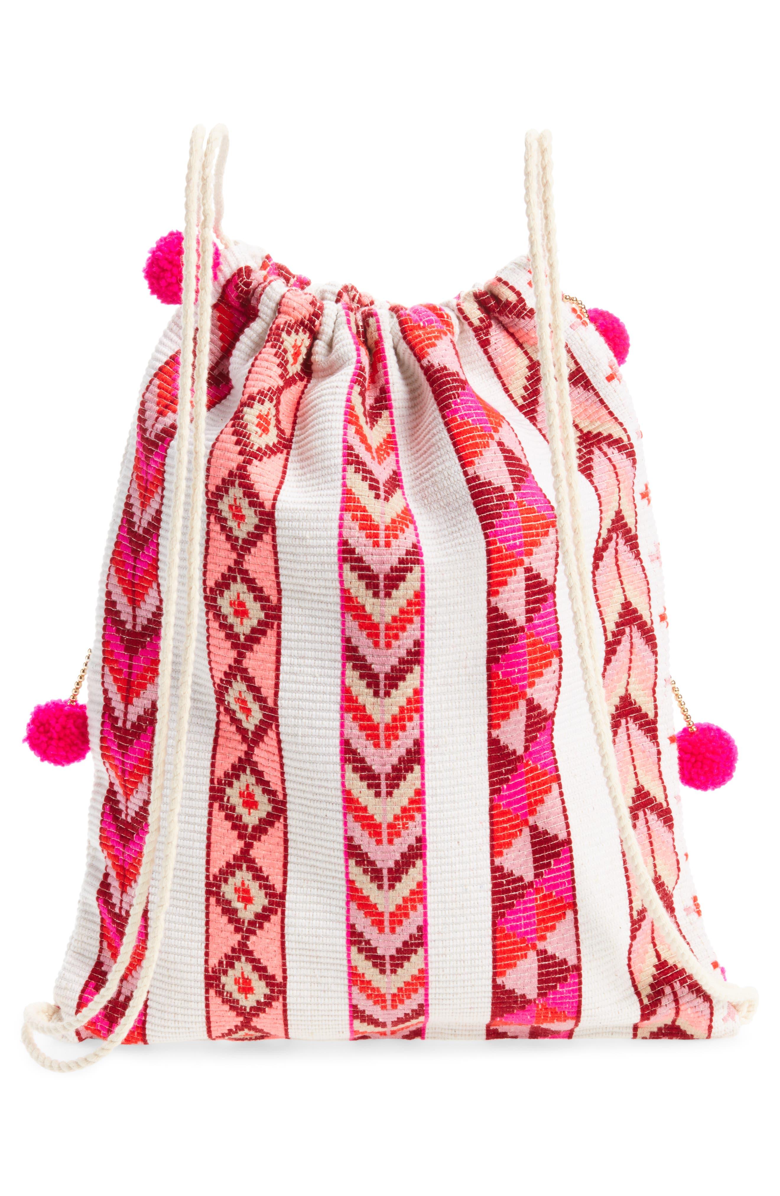 Pompom Drawstring Bag,                             Alternate thumbnail 9, color,