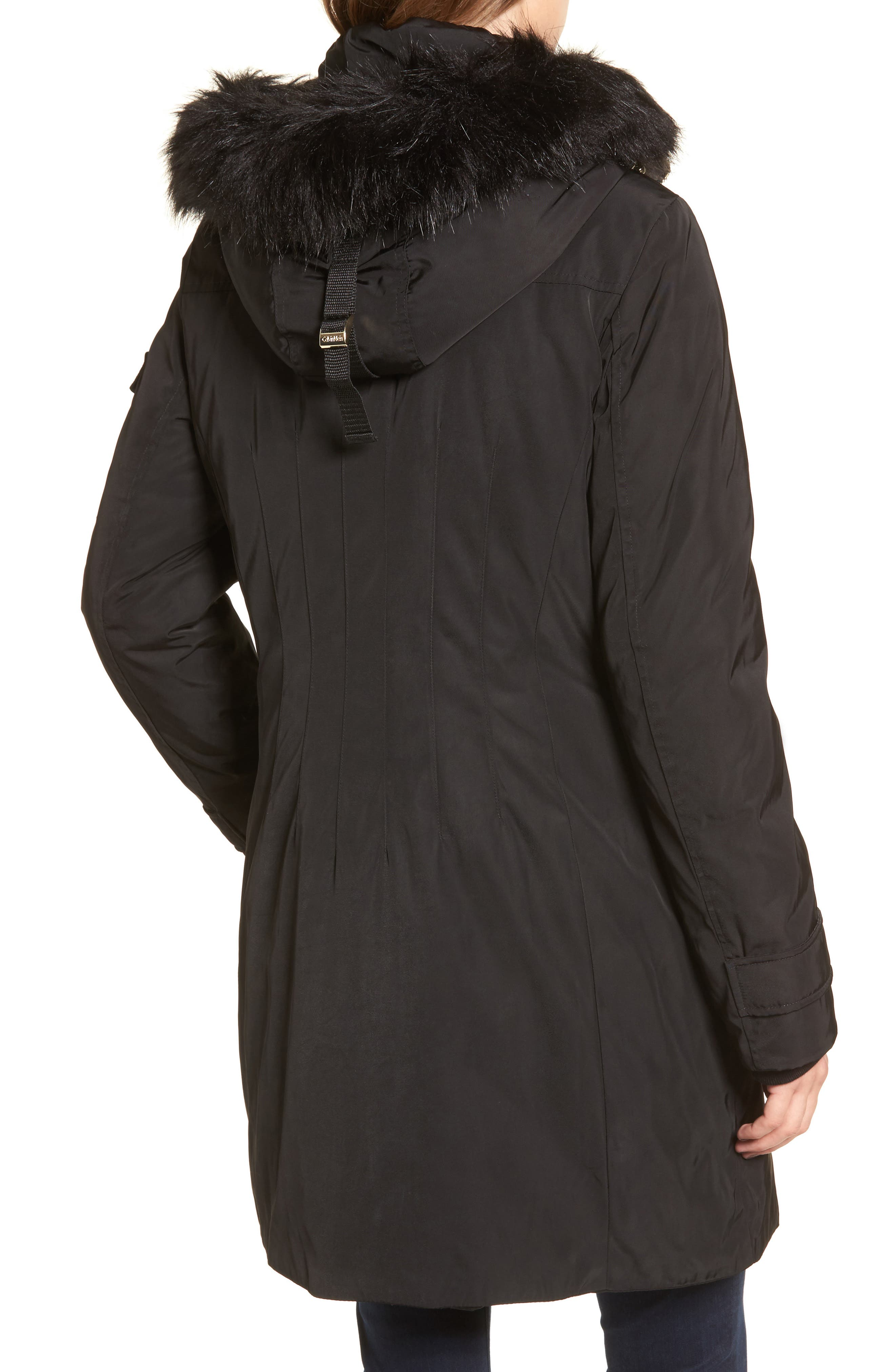 Calvien Klein Hooded Down Parka with Removable Faux Fur Collar,                             Alternate thumbnail 2, color,                             001