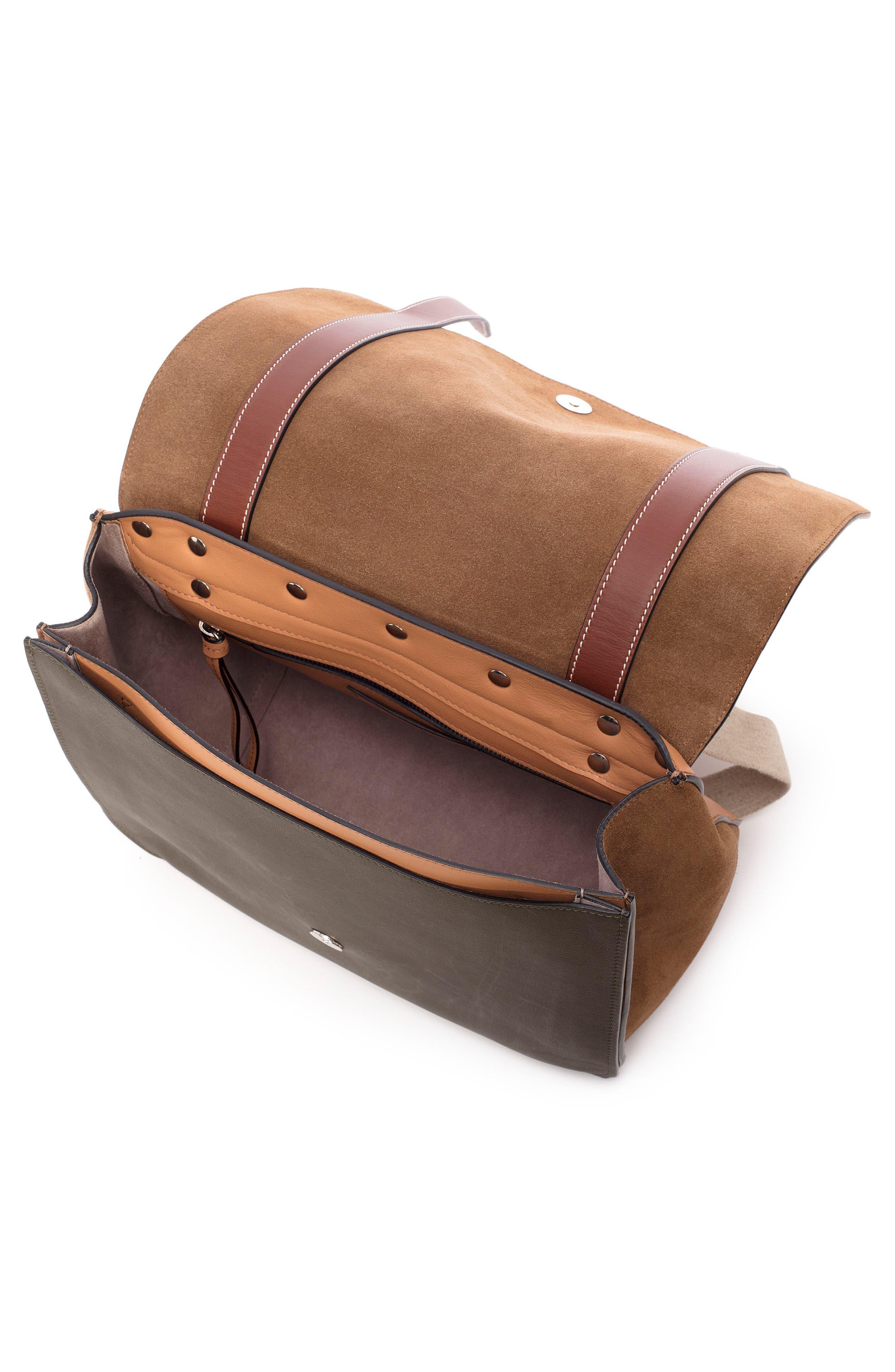 JW ANDERSON,                             Disc Leather Top Handle Satchel,                             Alternate thumbnail 3, color,                             CHESTNUT
