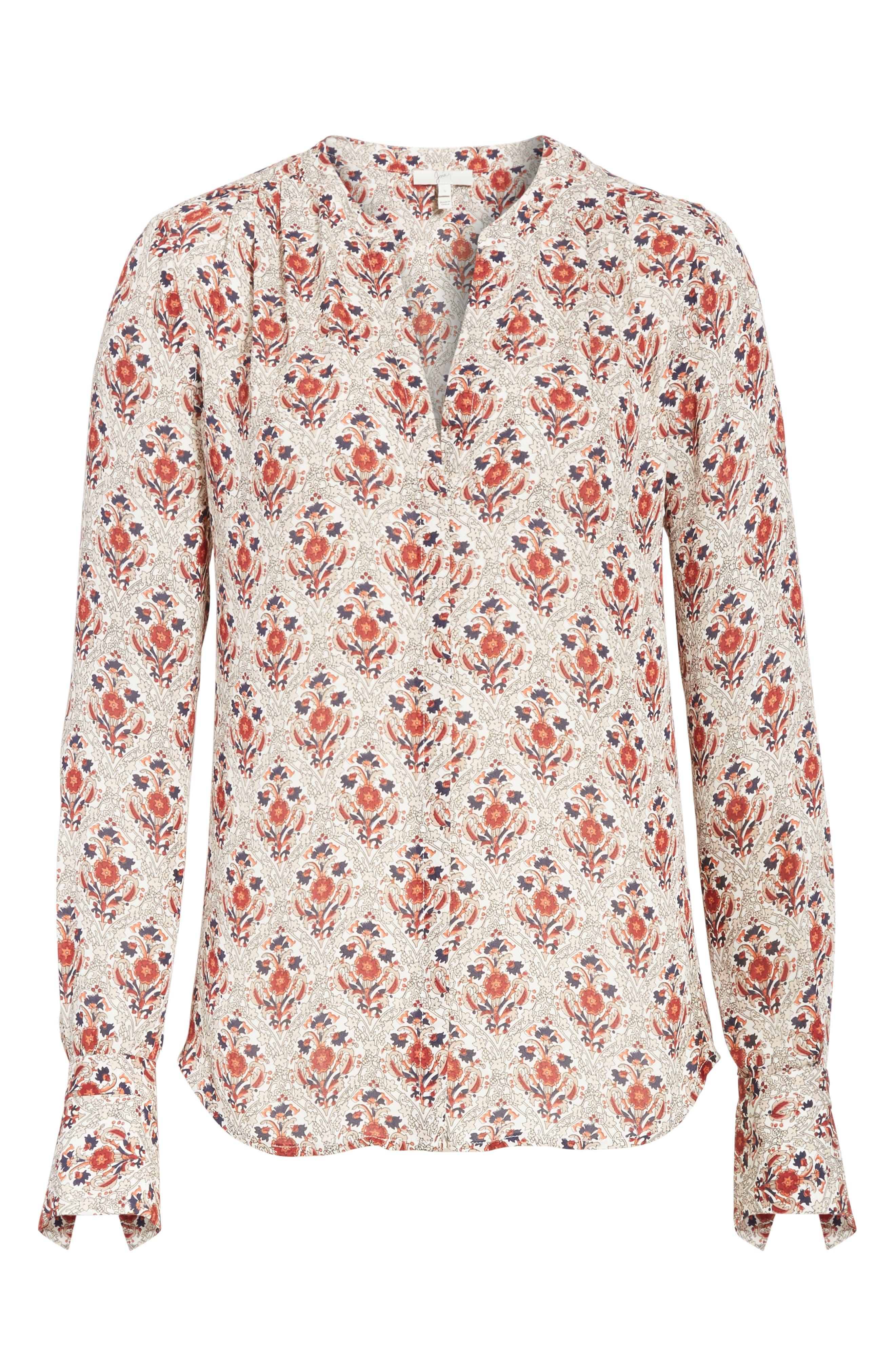Jamiona Floral Silk Top,                             Alternate thumbnail 6, color,                             114