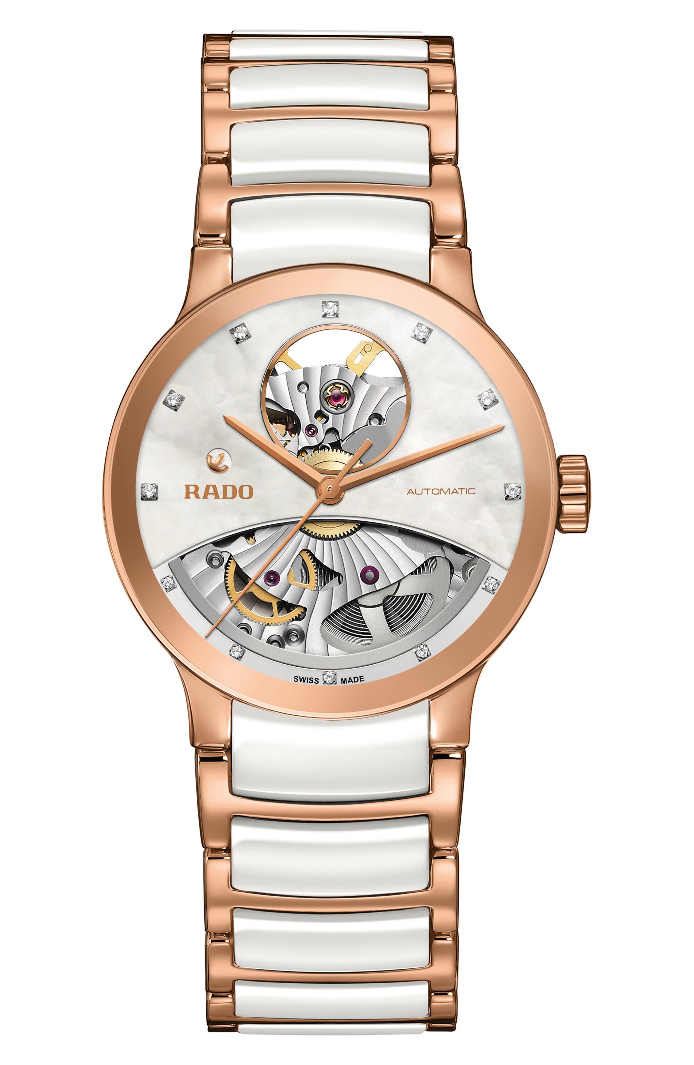RADO,                             Centrix Open Heart Automatic Diamond Ceramic Bracelet Watch, 33mm,                             Main thumbnail 1, color,                             WHITE/ MOP/ ROSE GOLD