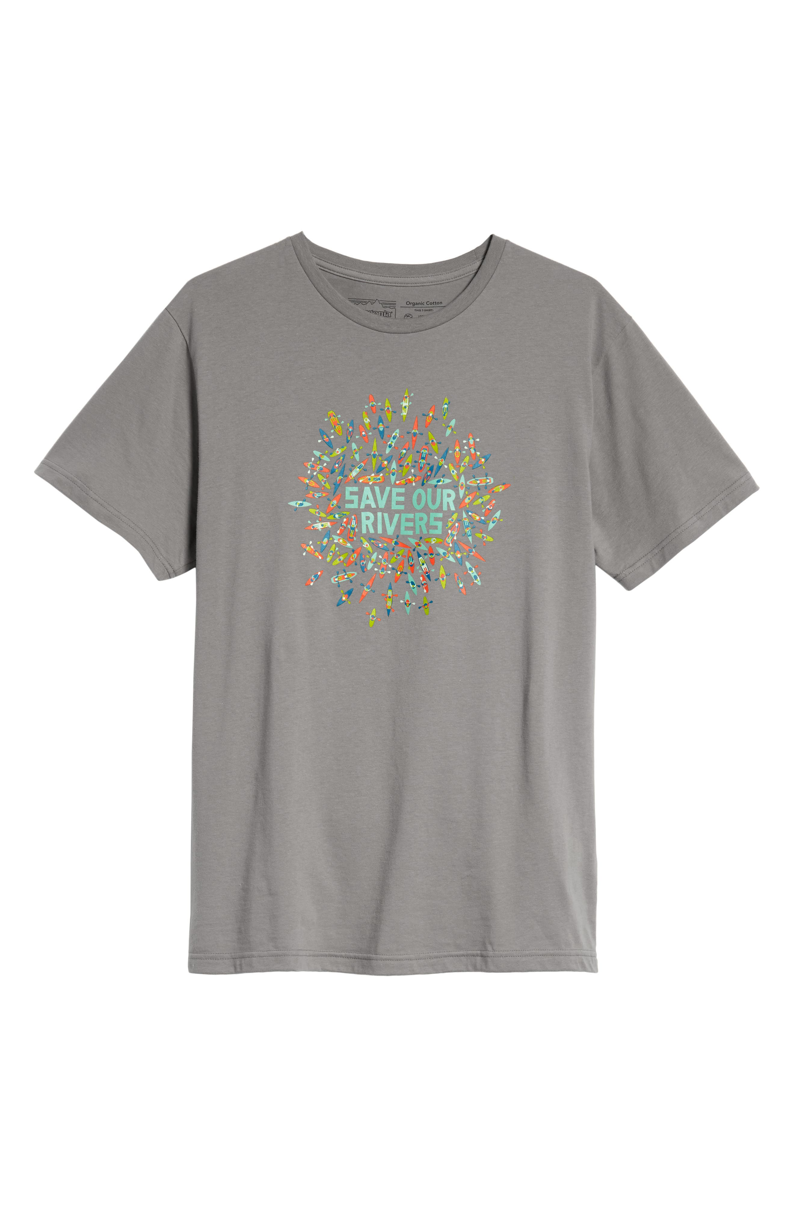 Save Our Rivers Organic Cotton Graphic T-Shirt,                             Alternate thumbnail 6, color,                             FEATHER GREY