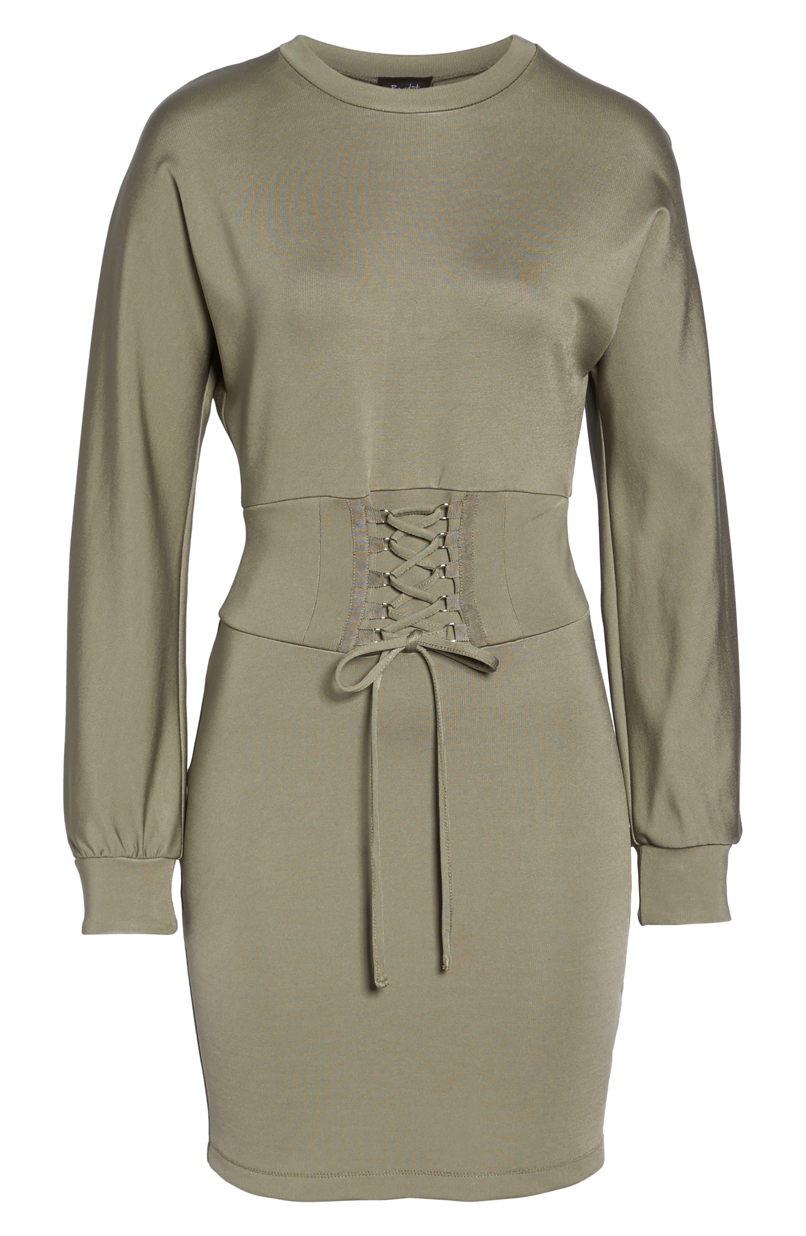 Mila Corset Body-Con Dress,                             Alternate thumbnail 6, color,