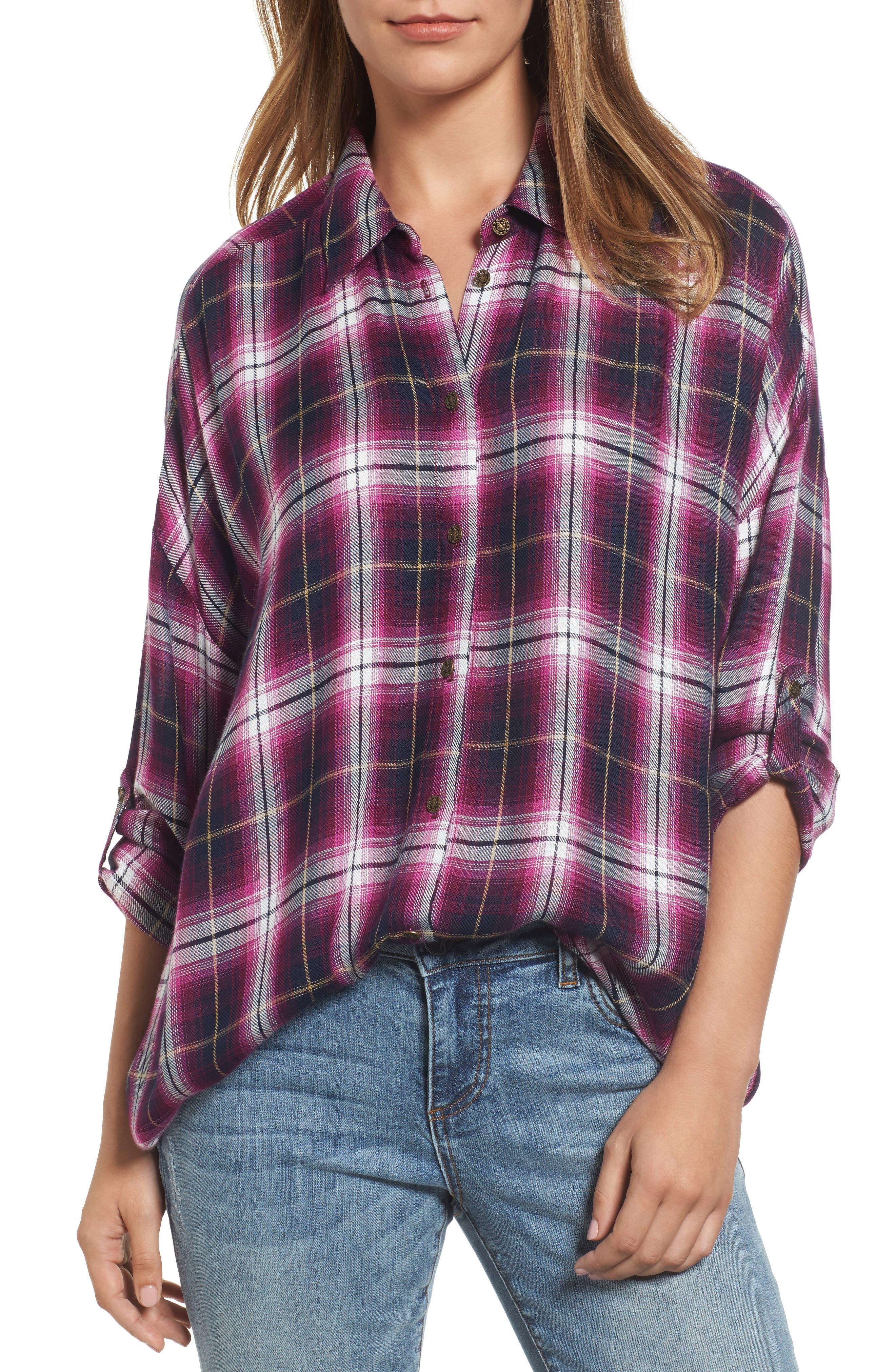 Misa Drop Shoulder Plaid Top,                         Main,                         color, 687