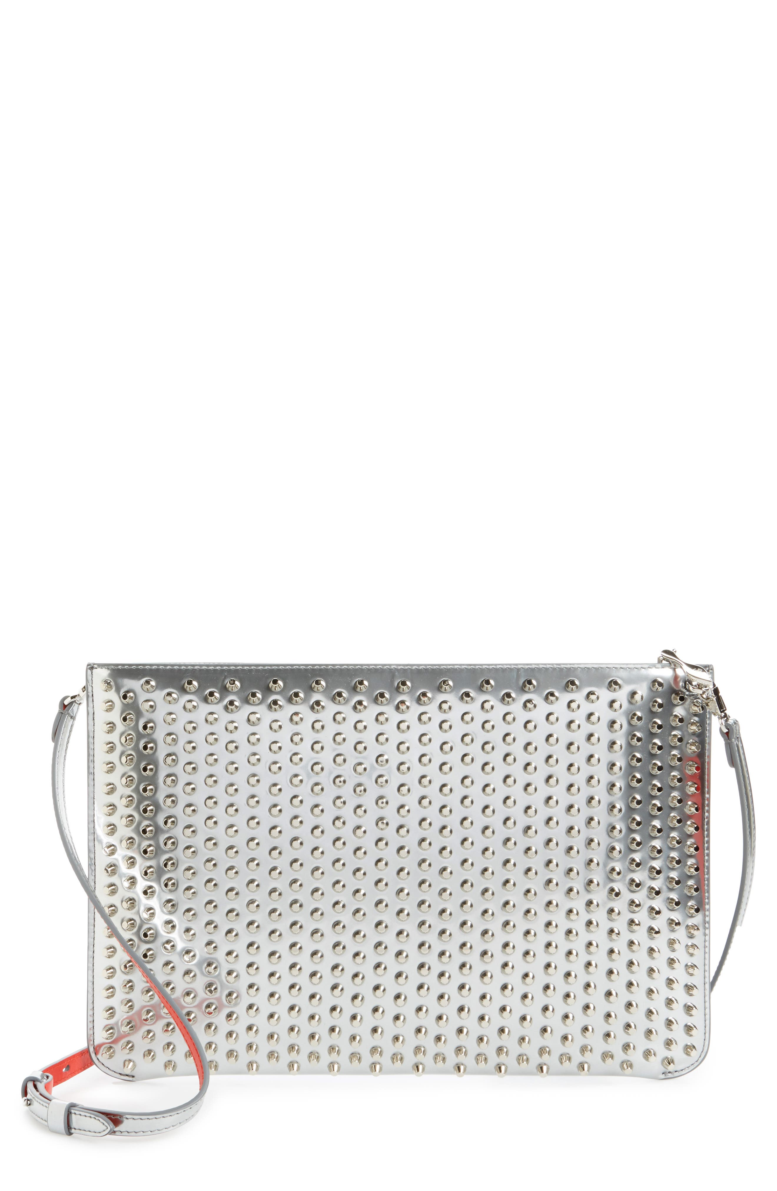 Loubiclutch Spiked Leather Clutch,                             Main thumbnail 1, color,                             040