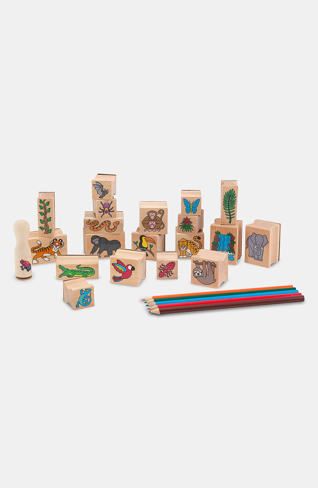 MELISSA & DOUG 'Stamp-A-Scene - Rain Forest' Stamp Set, Main, color, BROWN