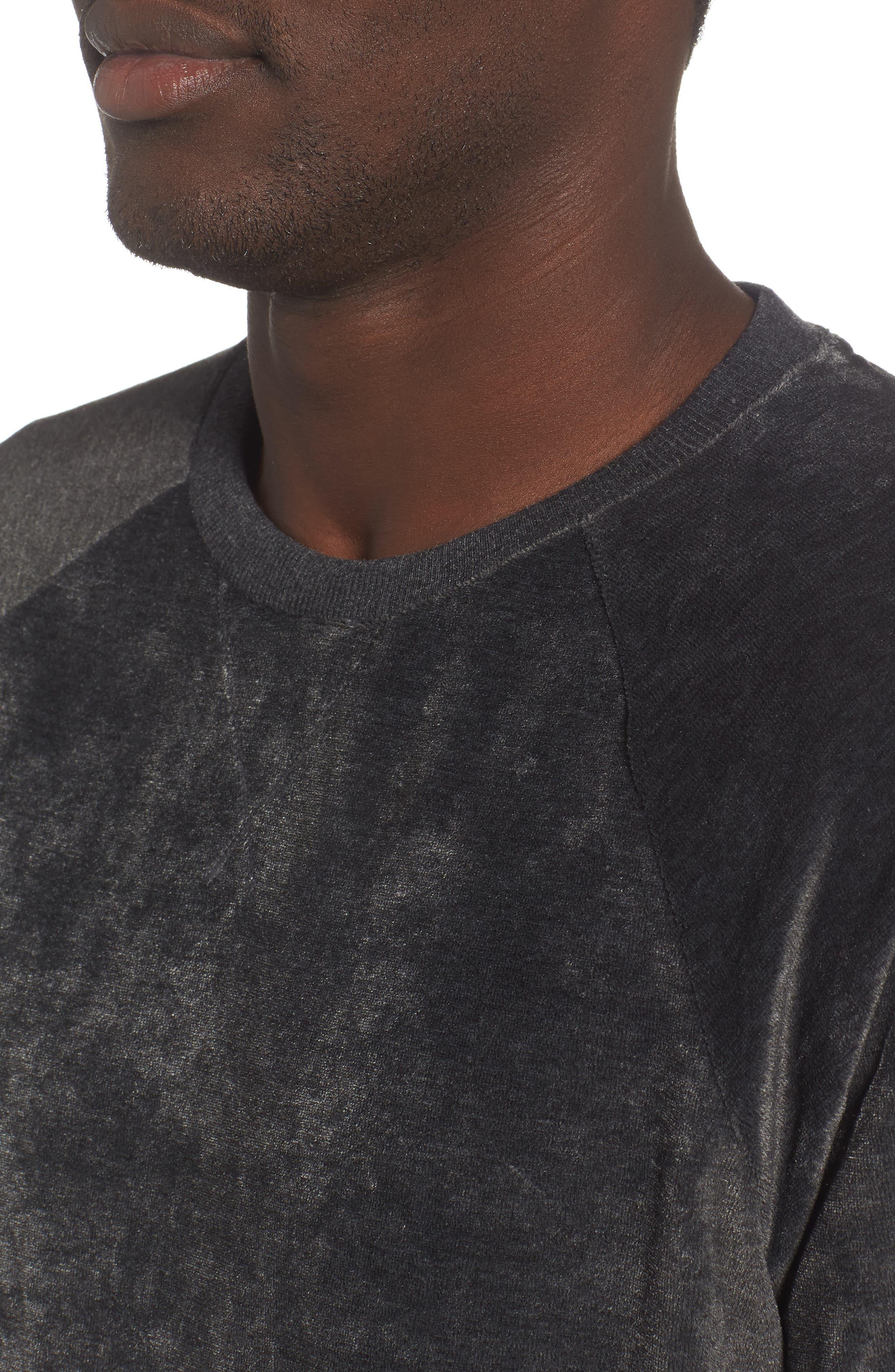 Crewneck Sweatshirt,                             Alternate thumbnail 4, color,                             WASHED BLACK