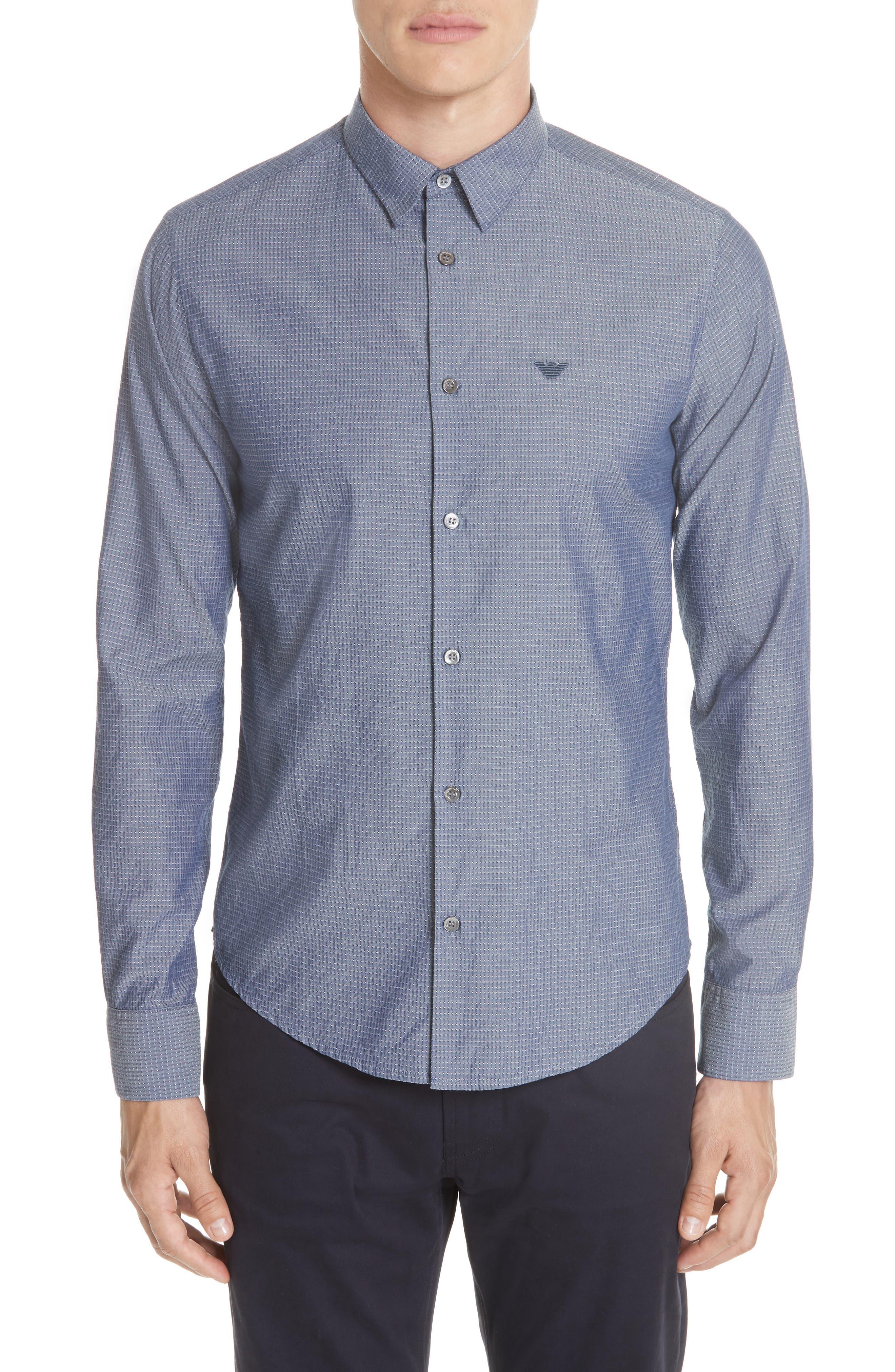 Slim Fit Solid Sport Shirt,                         Main,                         color, BLUE MULTI