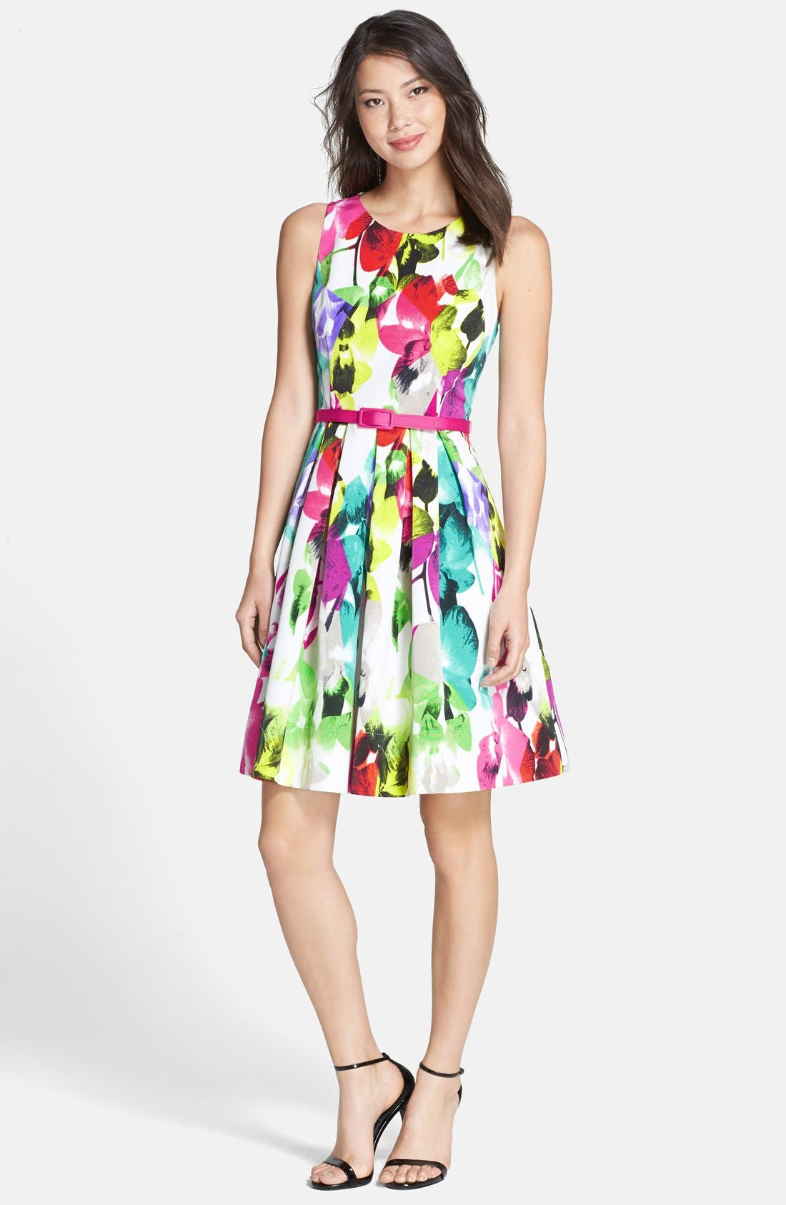 Belted Print Faille Fit & Flare Dress,                             Alternate thumbnail 4, color,                             650