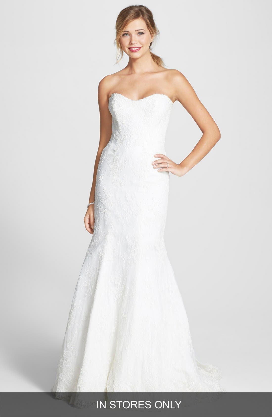 Embroidered Lace Trumpet Dress,                         Main,                         color,