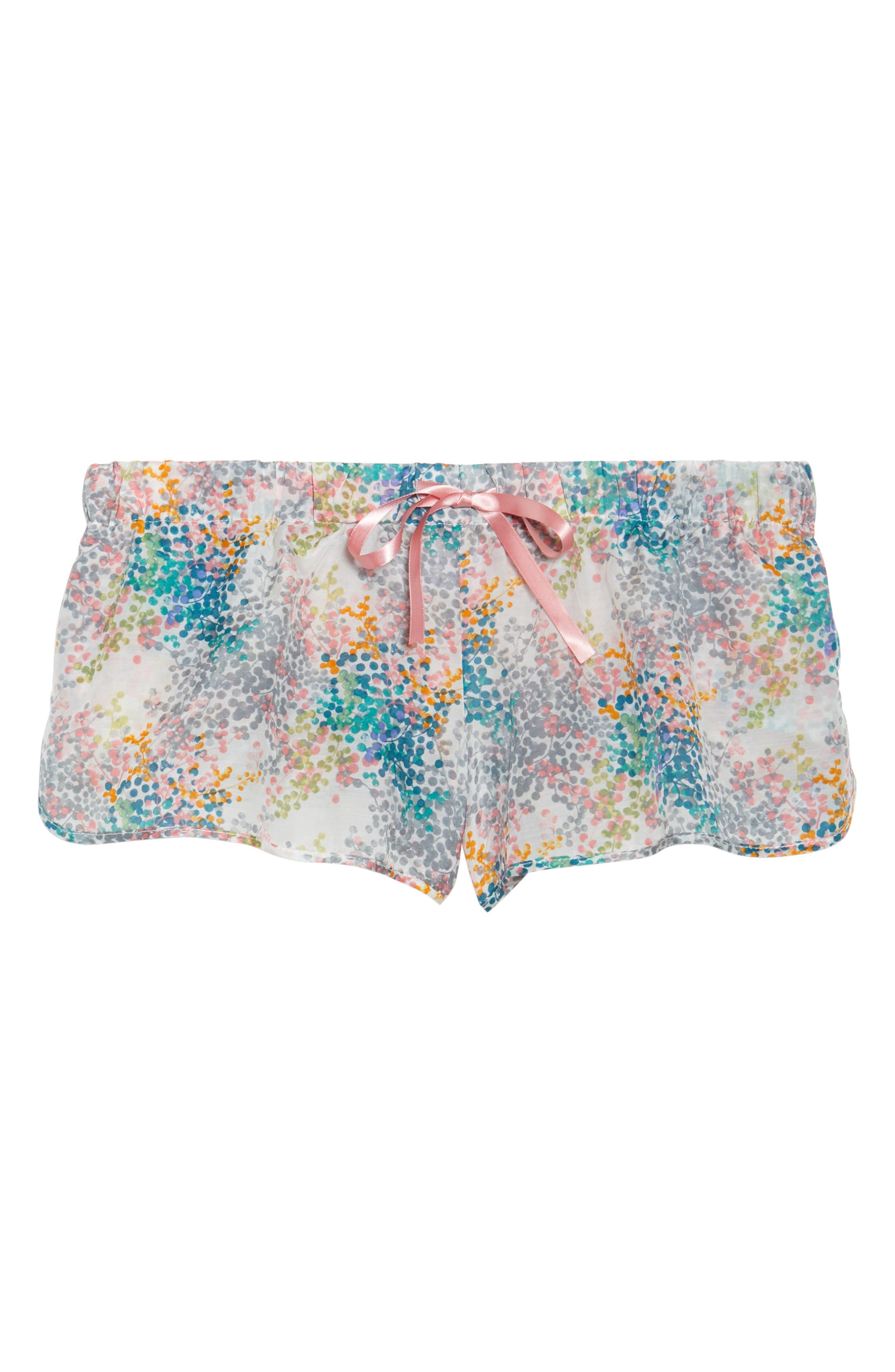 Bouquet Pajama Shorts,                             Alternate thumbnail 6, color,                             BLUE GREEN