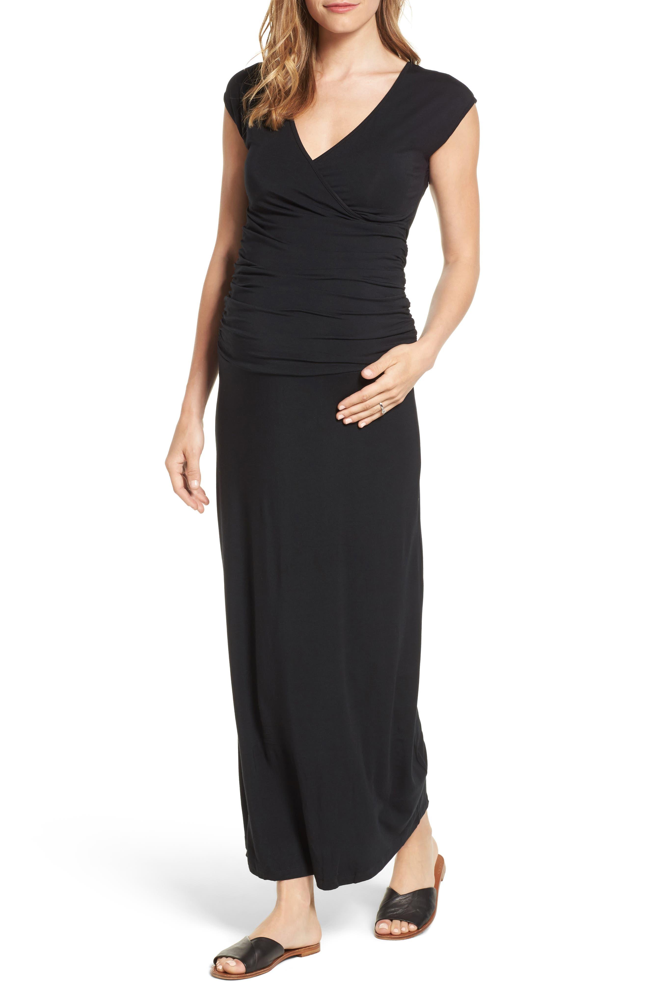 'Vita' Maternity Maxi Dress,                             Main thumbnail 1, color,                             BLACK