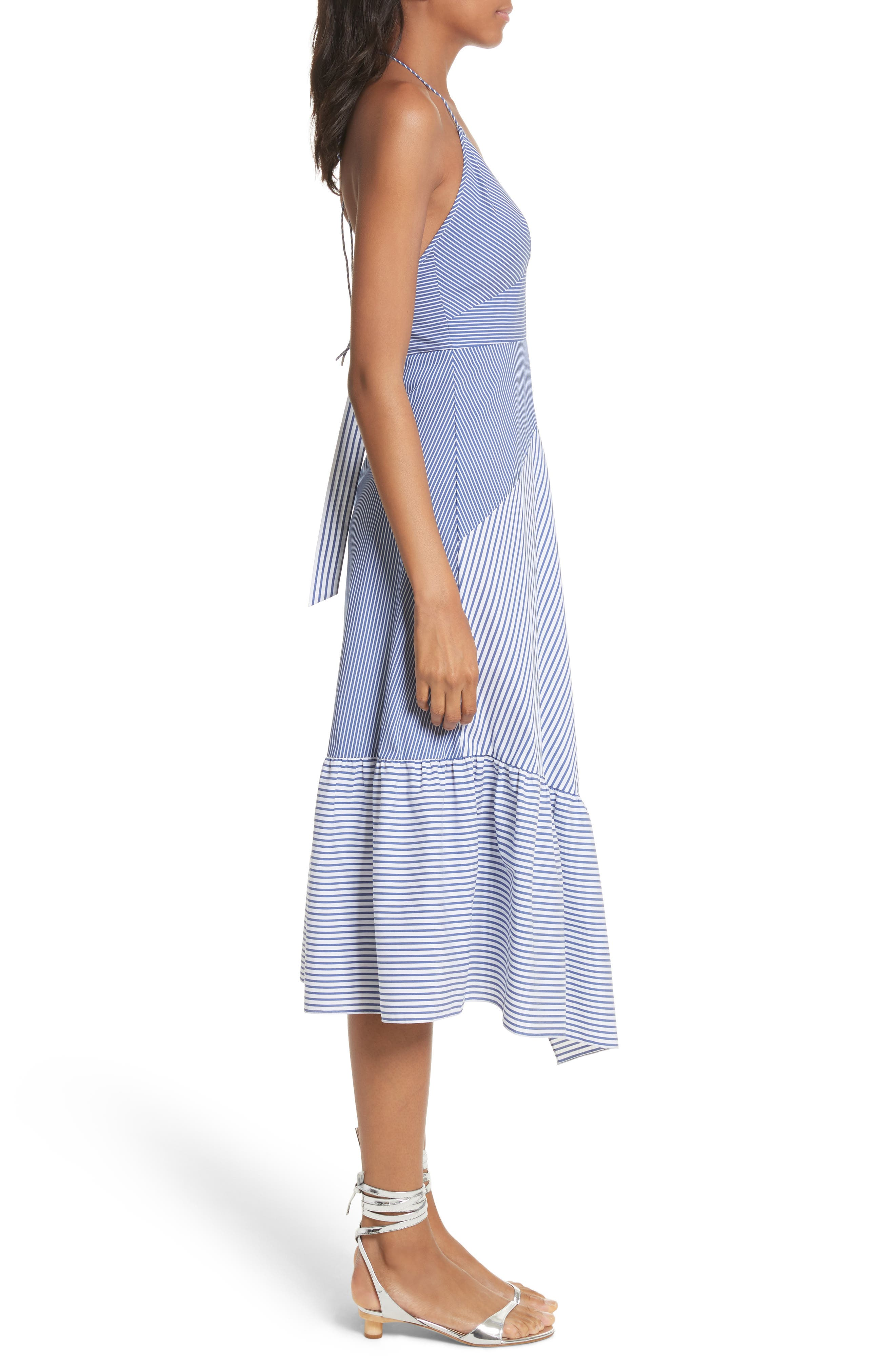 Colorblock Collage Stripe Halter Dress,                             Alternate thumbnail 3, color,                             400