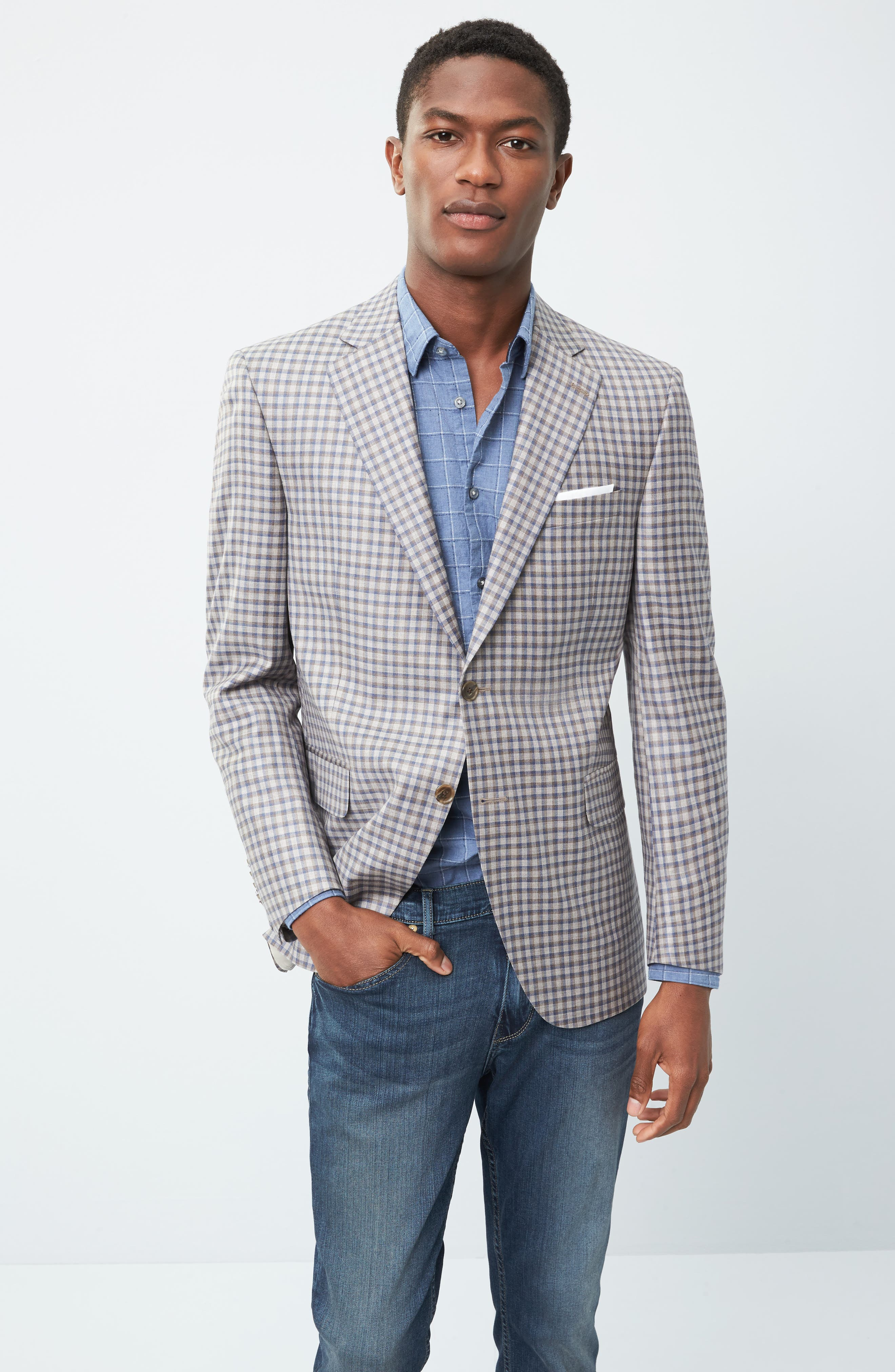 Classic Fit Check Wool Sport Coat,                             Alternate thumbnail 7, color,                             210