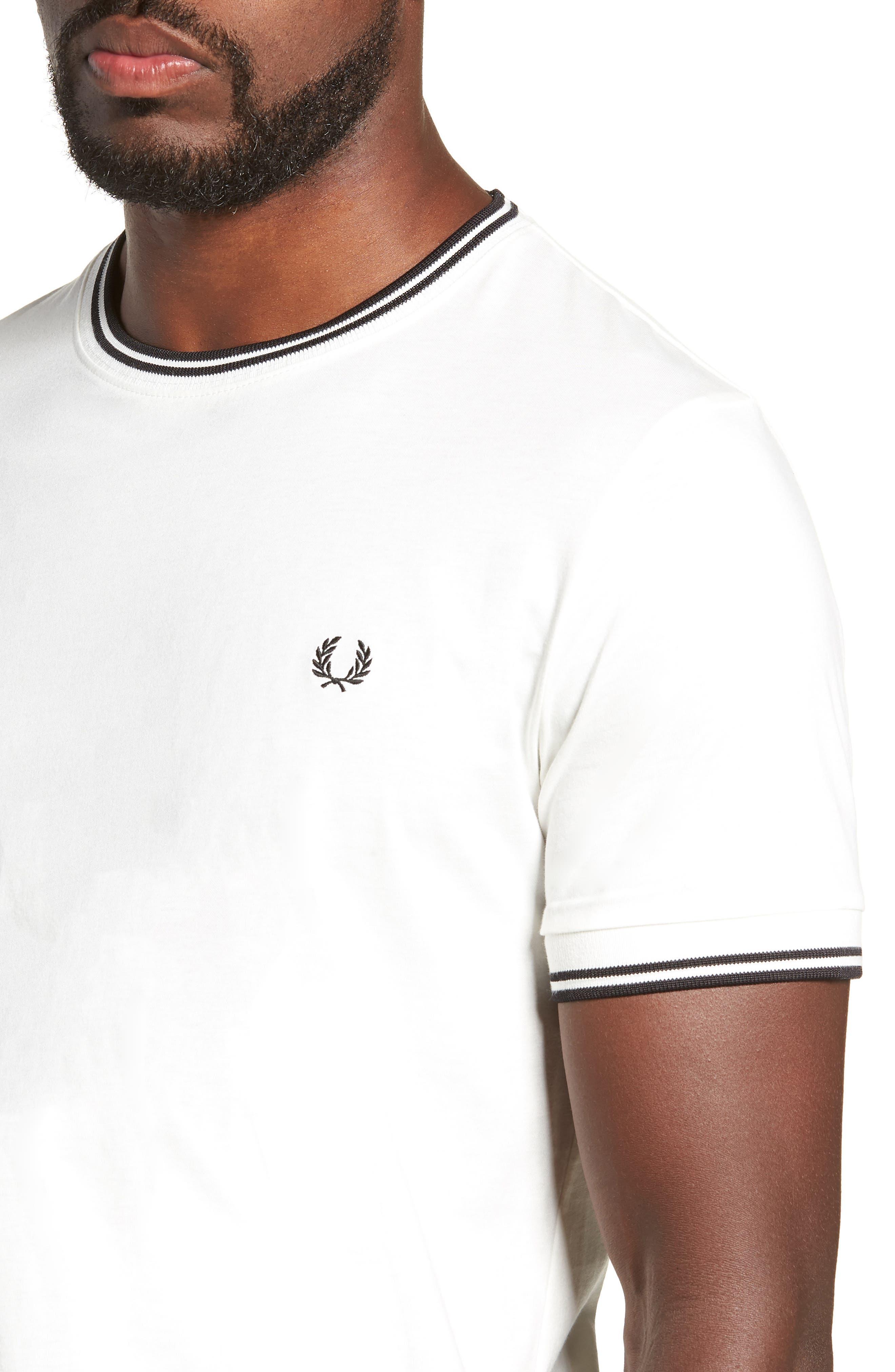 Contrast Trim T-Shirt,                             Alternate thumbnail 4, color,                             SNOW WHITE